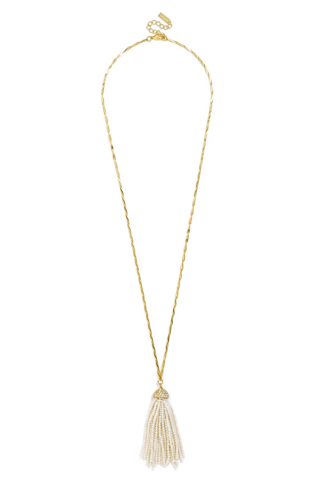 Main Image - BaubleBar Mini Faux Pearl Tassel Pendant Necklace
