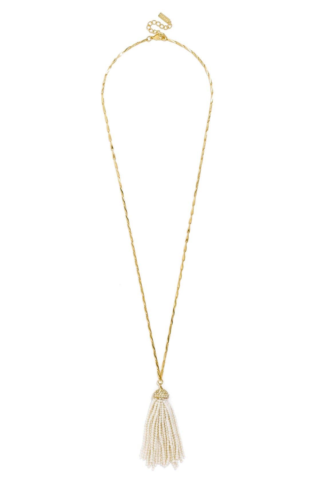 Mini Faux Pearl Tassel Pendant Necklace,                         Main,                         color, Pearl
