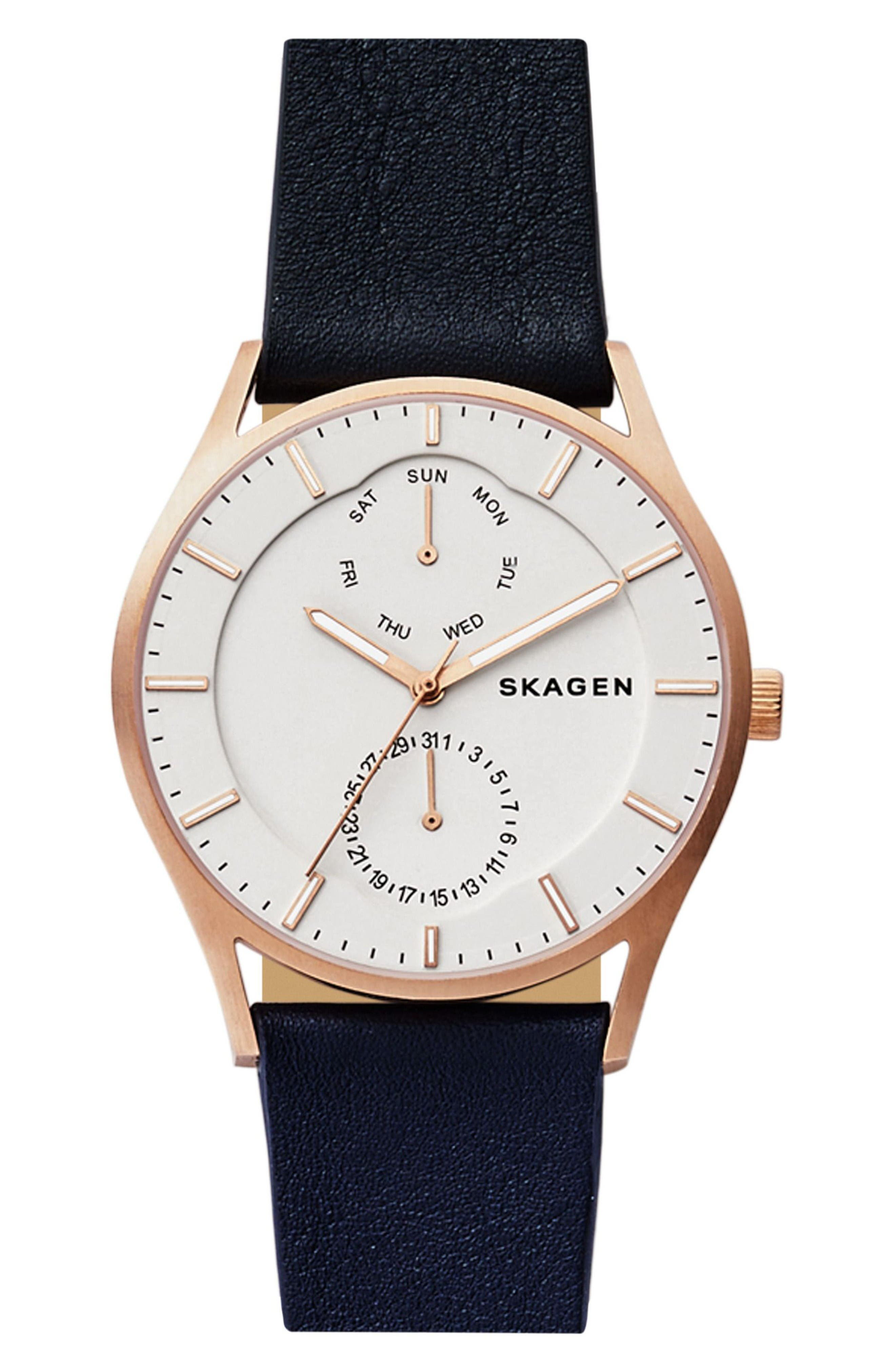 'Holst' Multifunction Leather Strap Watch, 40mm,                         Main,                         color, Blue/ White/ Rose Gold
