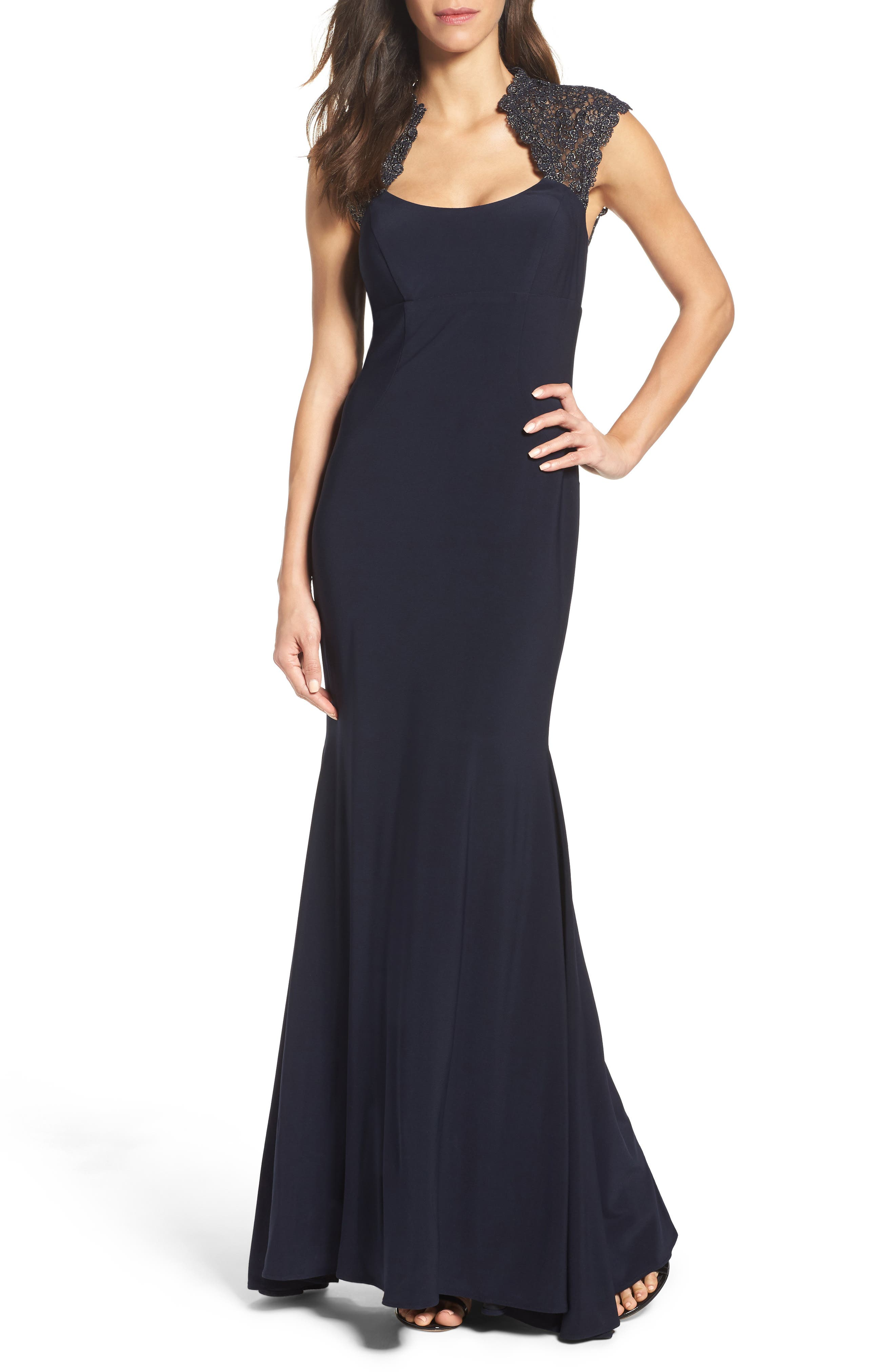 Lace Inset Mermaid Gown,                         Main,                         color, Navy