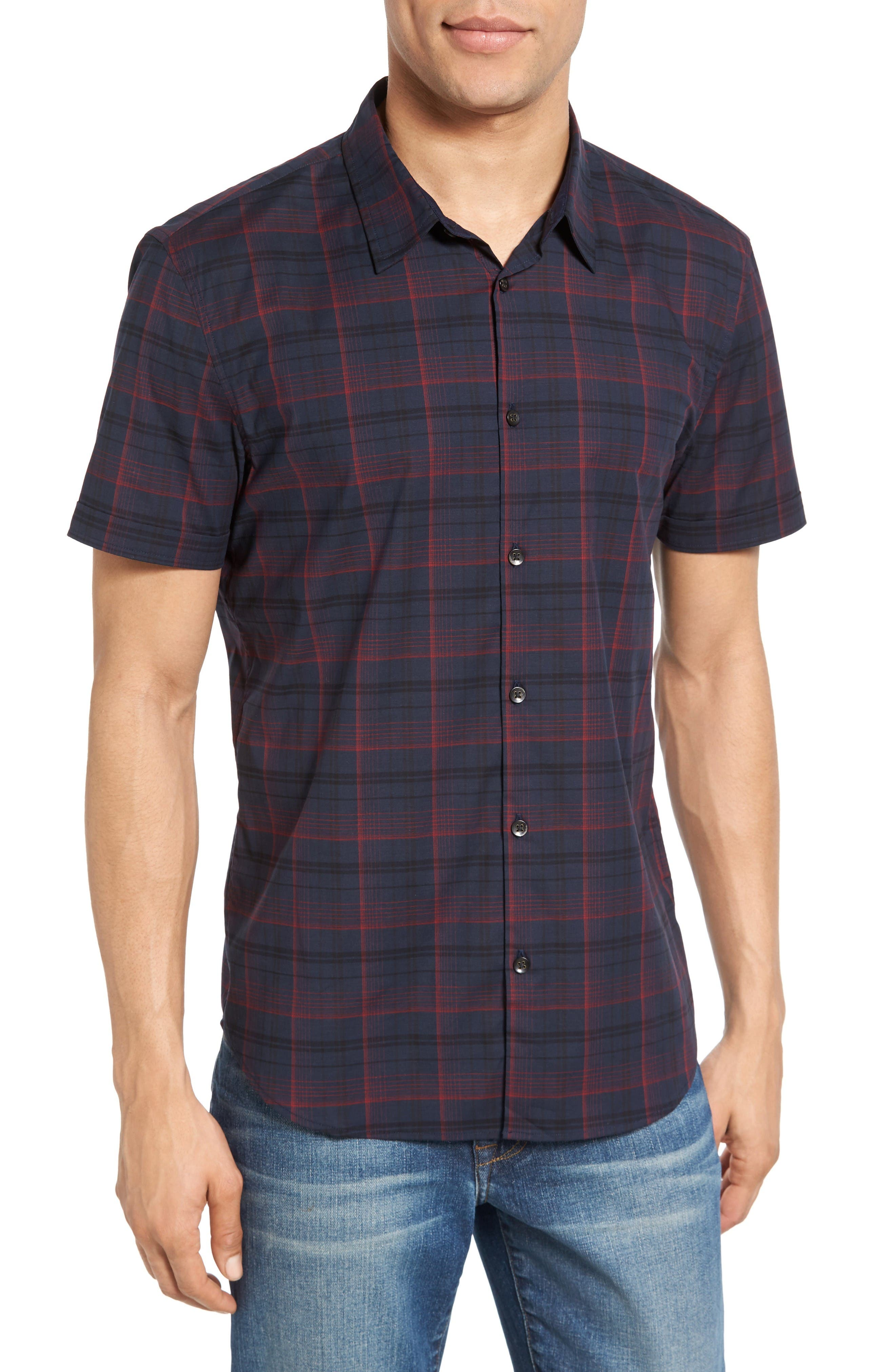 Cotton Sport Shirt,                         Main,                         color, Midnight