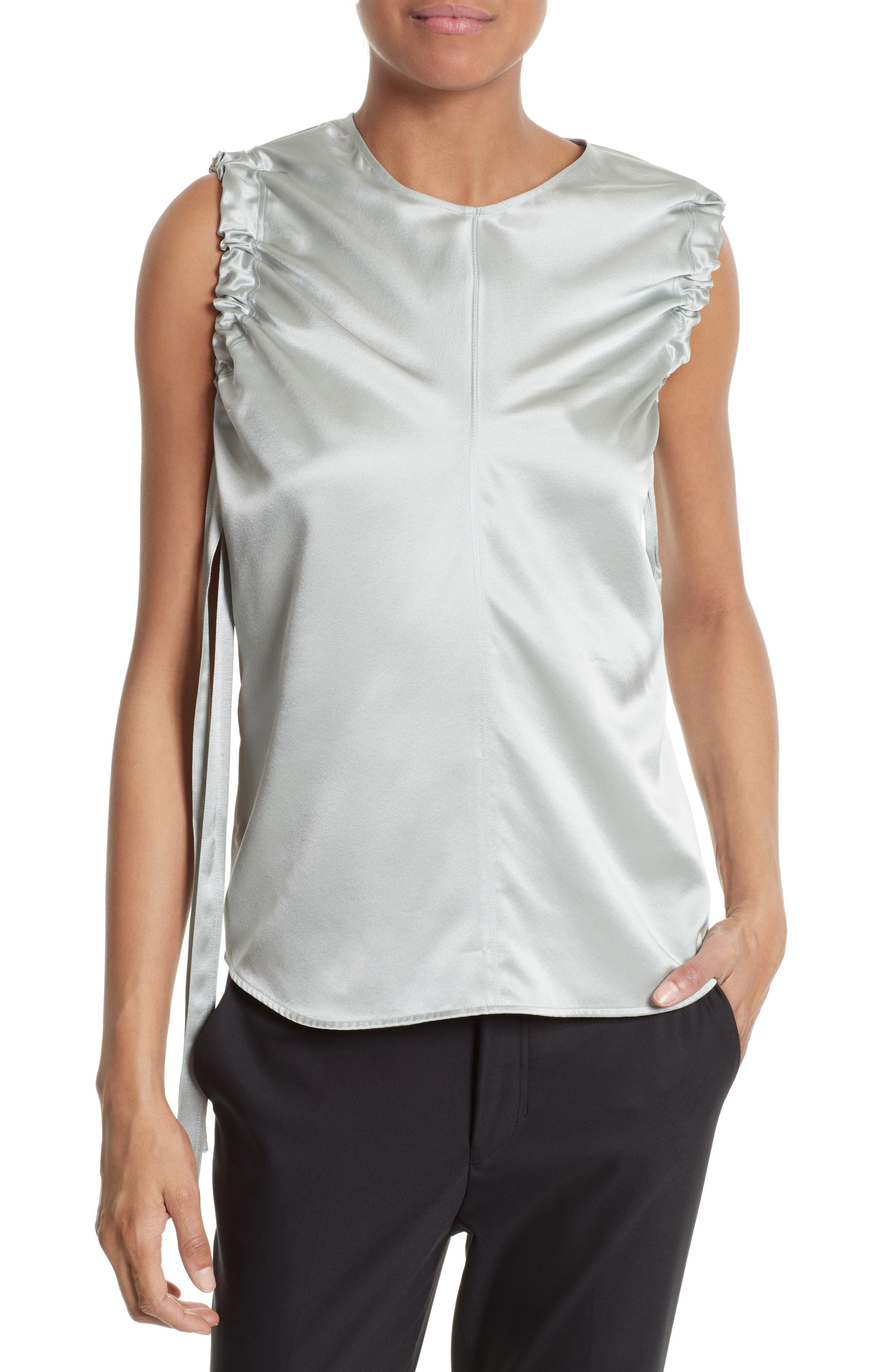 Alternate Image 1 Selected - Helmut Lang Ruched Armhole Silk Tank