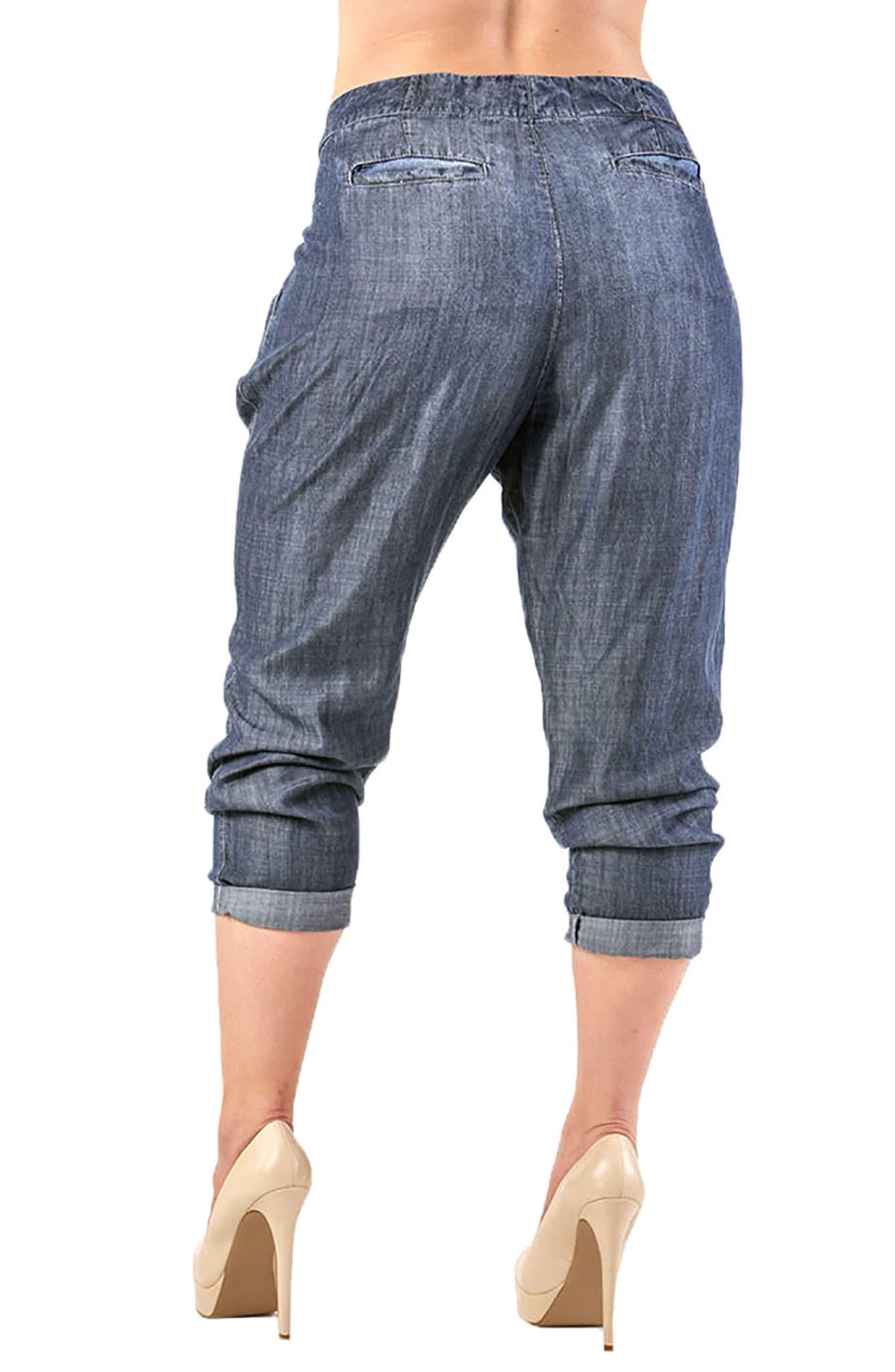Louise Pleat Denim Crop Pants,                             Alternate thumbnail 2, color,                             Grey