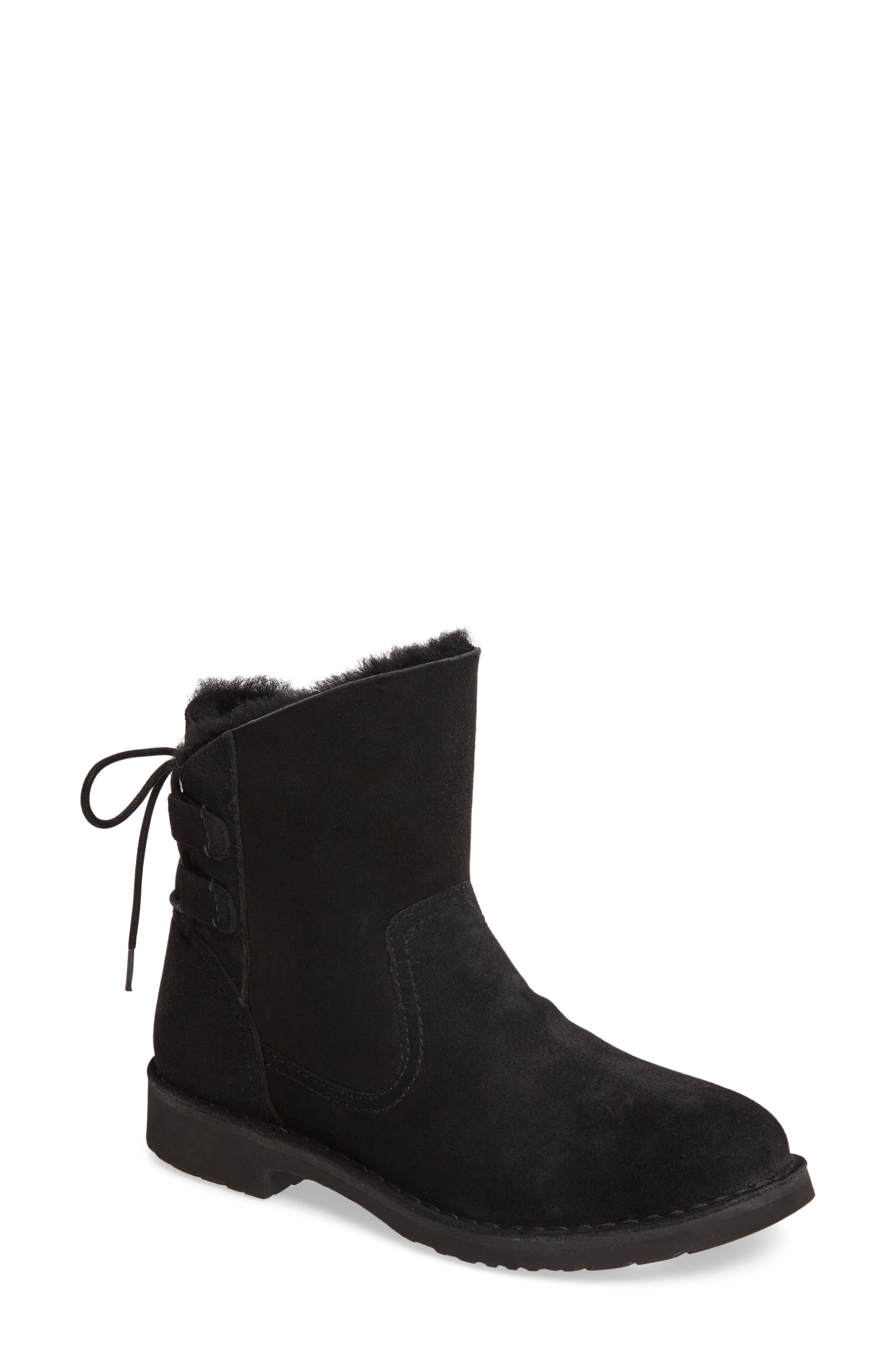 Naiyah Lace-Back Genuine Shearling Boot,                             Main thumbnail 1, color,                             Black Nubuck Leather