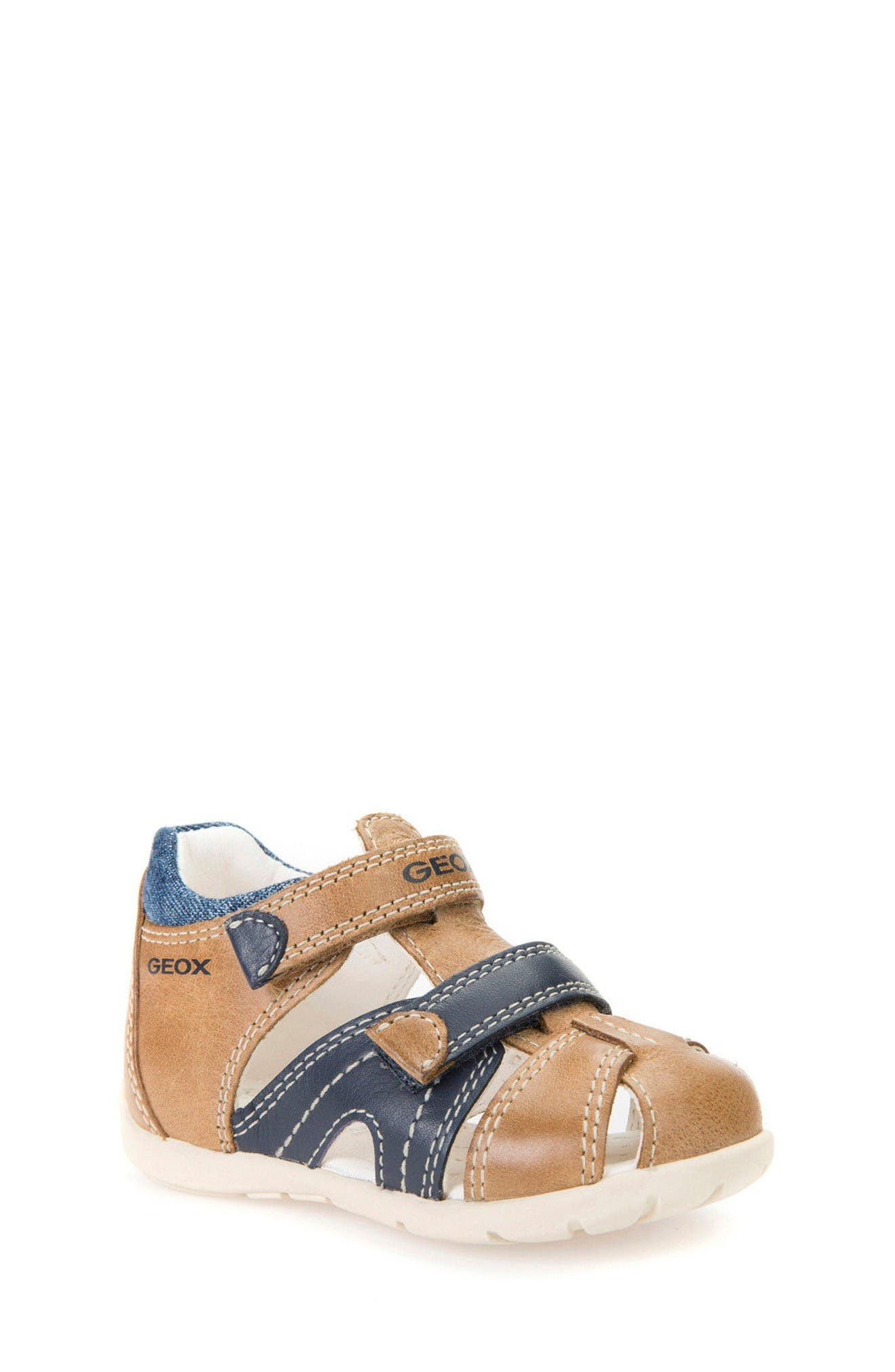 'Kaytan' Sandal,                             Main thumbnail 1, color,                             Caramel/ Navy