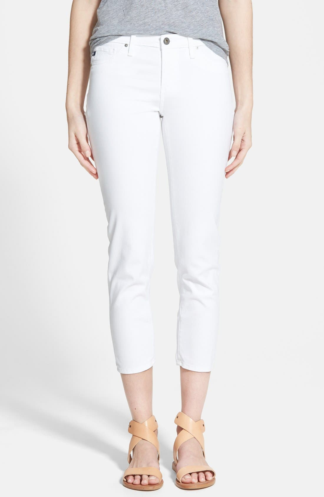 Main Image - AG 'Stilt' Cigarette Leg Crop Jeans (White)