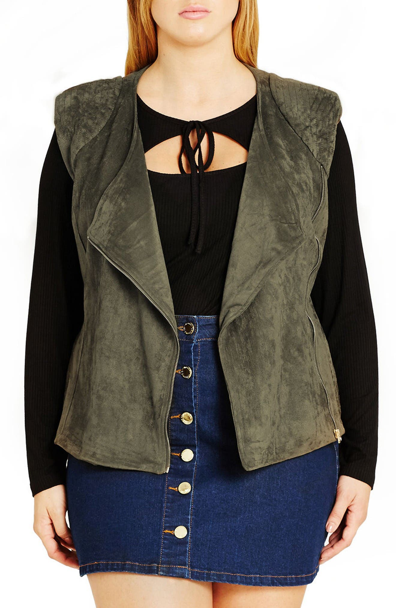 City Chic Faux Suede Biker Vest (Plus Size)
