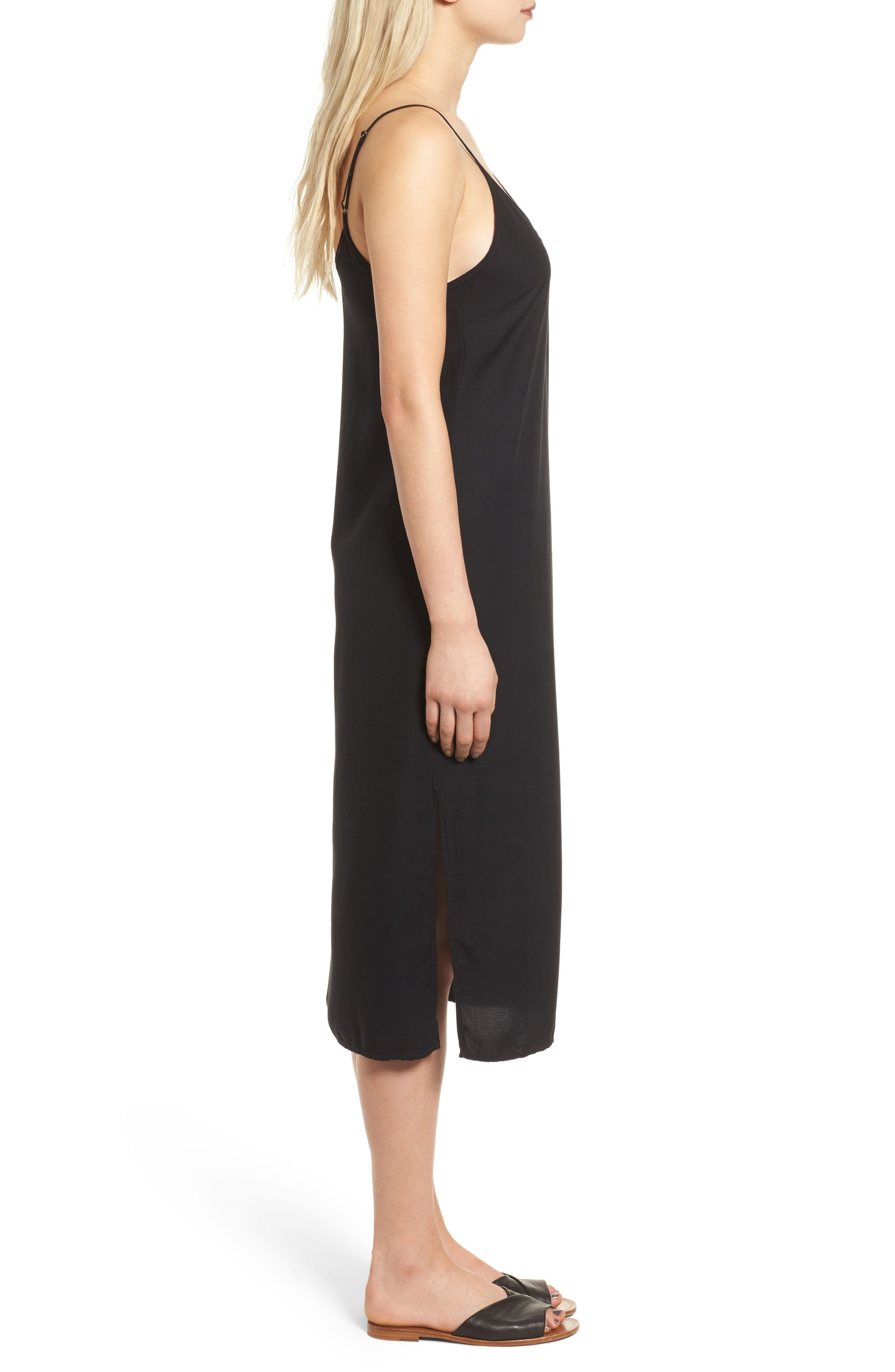 Tank Midi Dress,                             Alternate thumbnail 3, color,                             Black