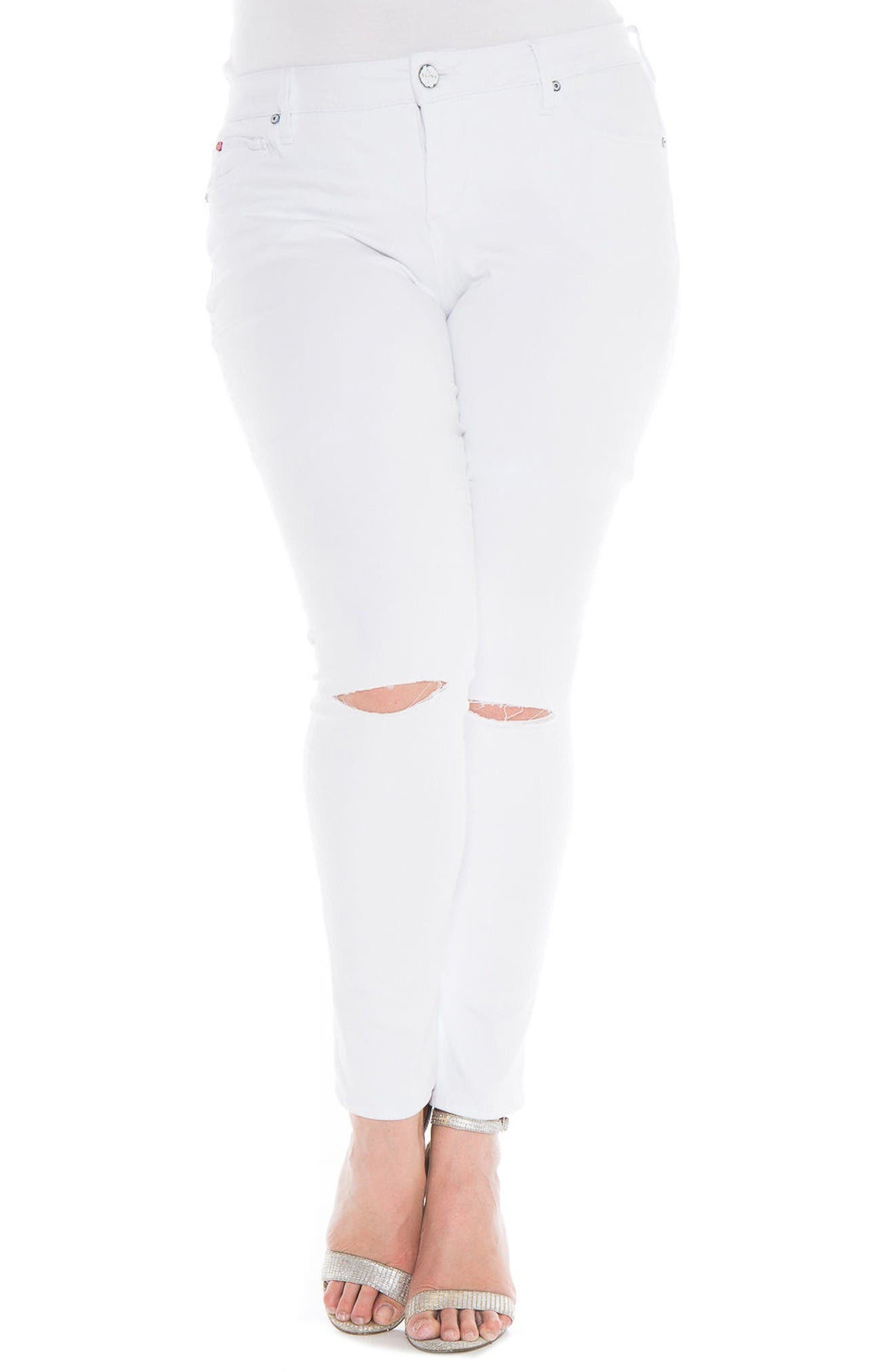 Main Image - SLINK Jeans Slit Knee Skinny Jeans (Lexy) (Plus Size)