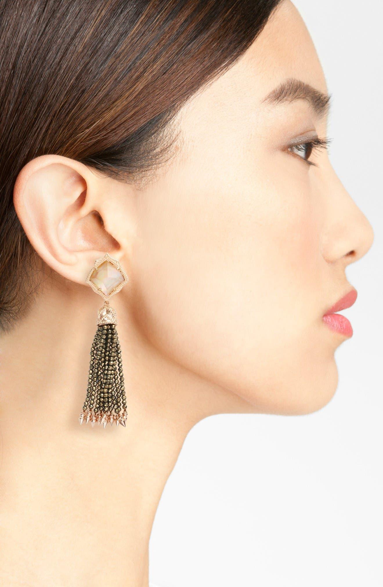 Misha Tassel Earrings,                             Alternate thumbnail 2, color,                             Dark Brown Mop/ Rose Gold