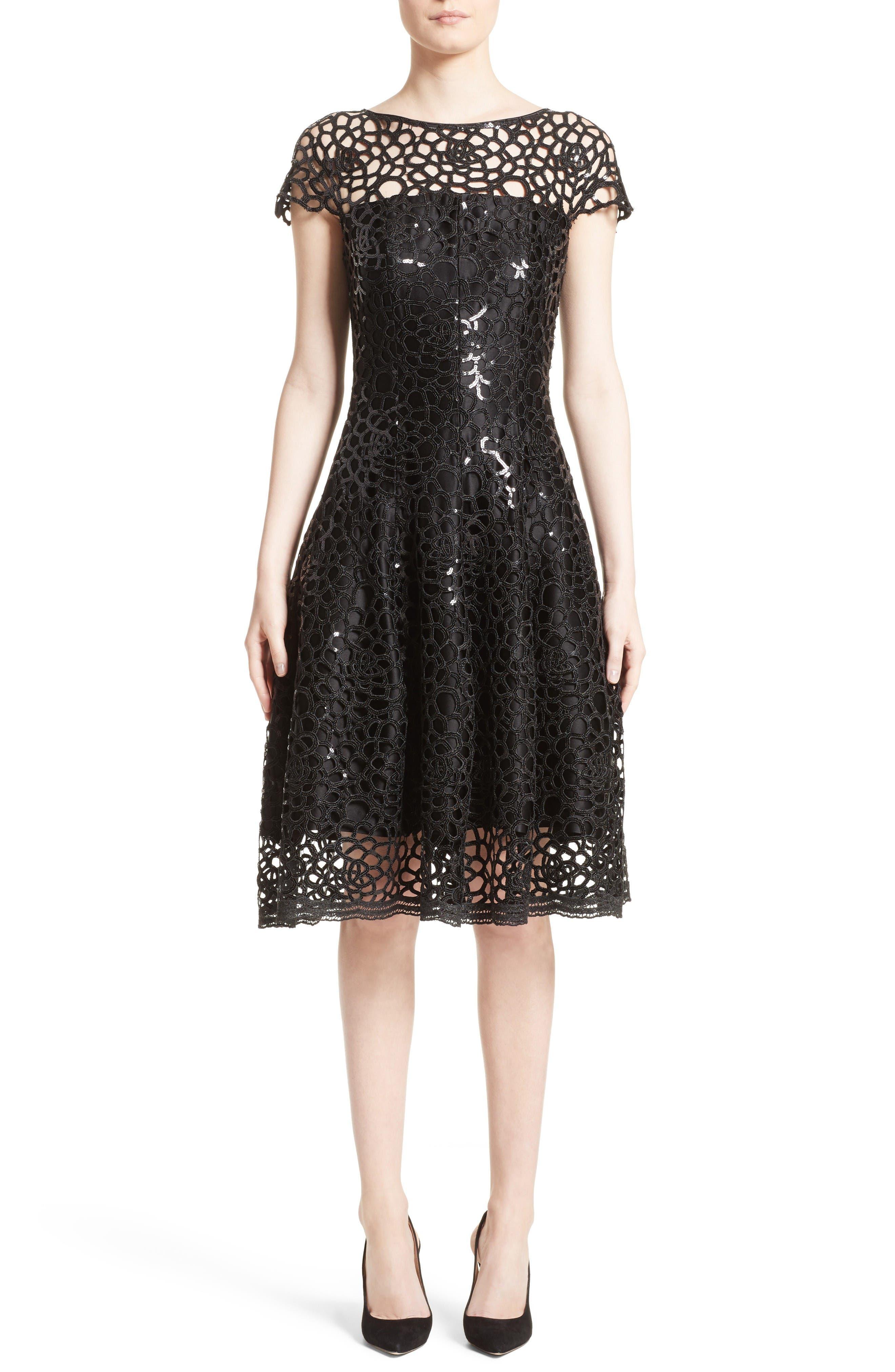 Sequin Cutout Fit & Flare Dress,                             Main thumbnail 1, color,                             Black