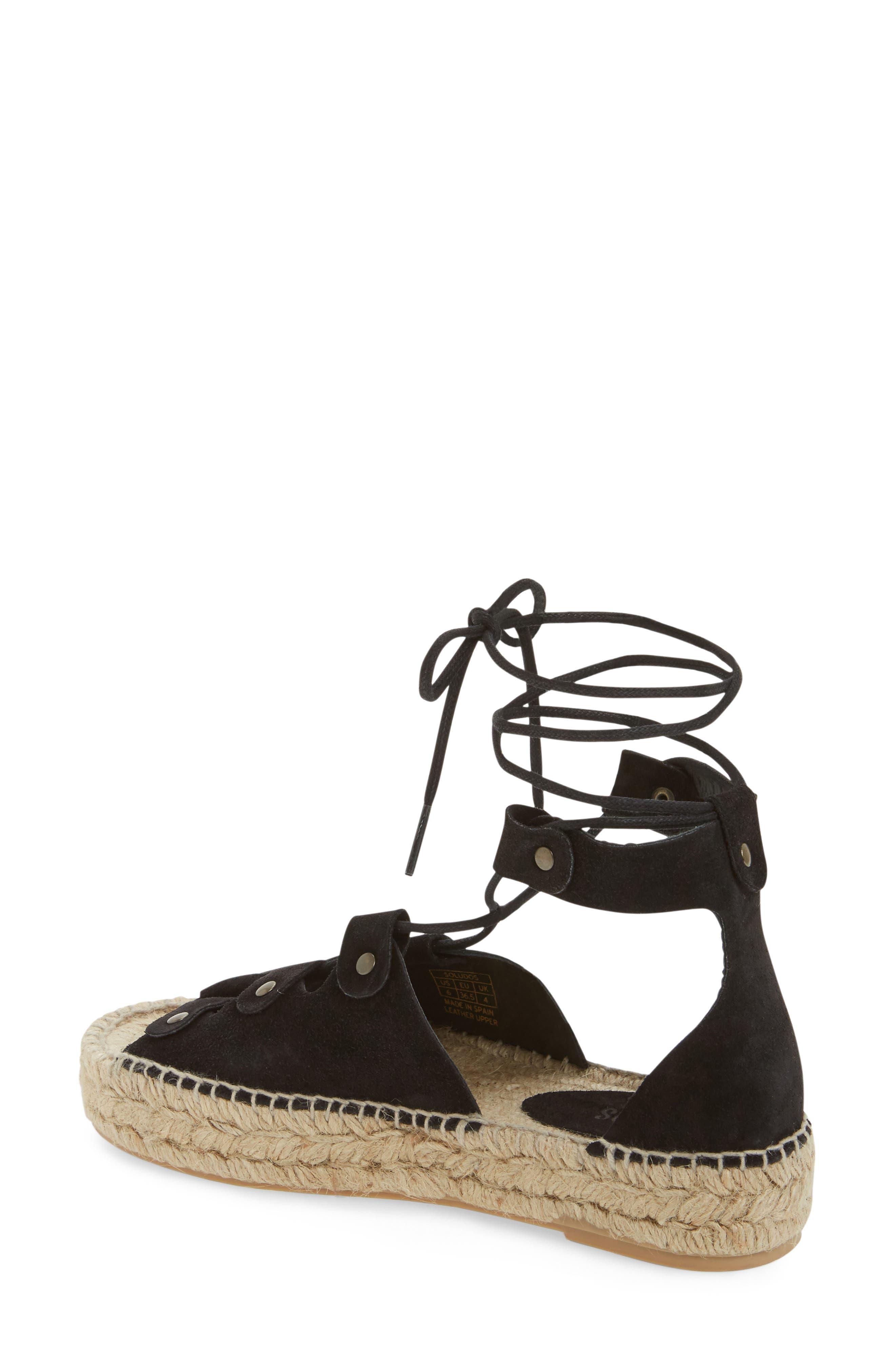 Ghillie Platform Sandal,                             Alternate thumbnail 2, color,                             Black Suede