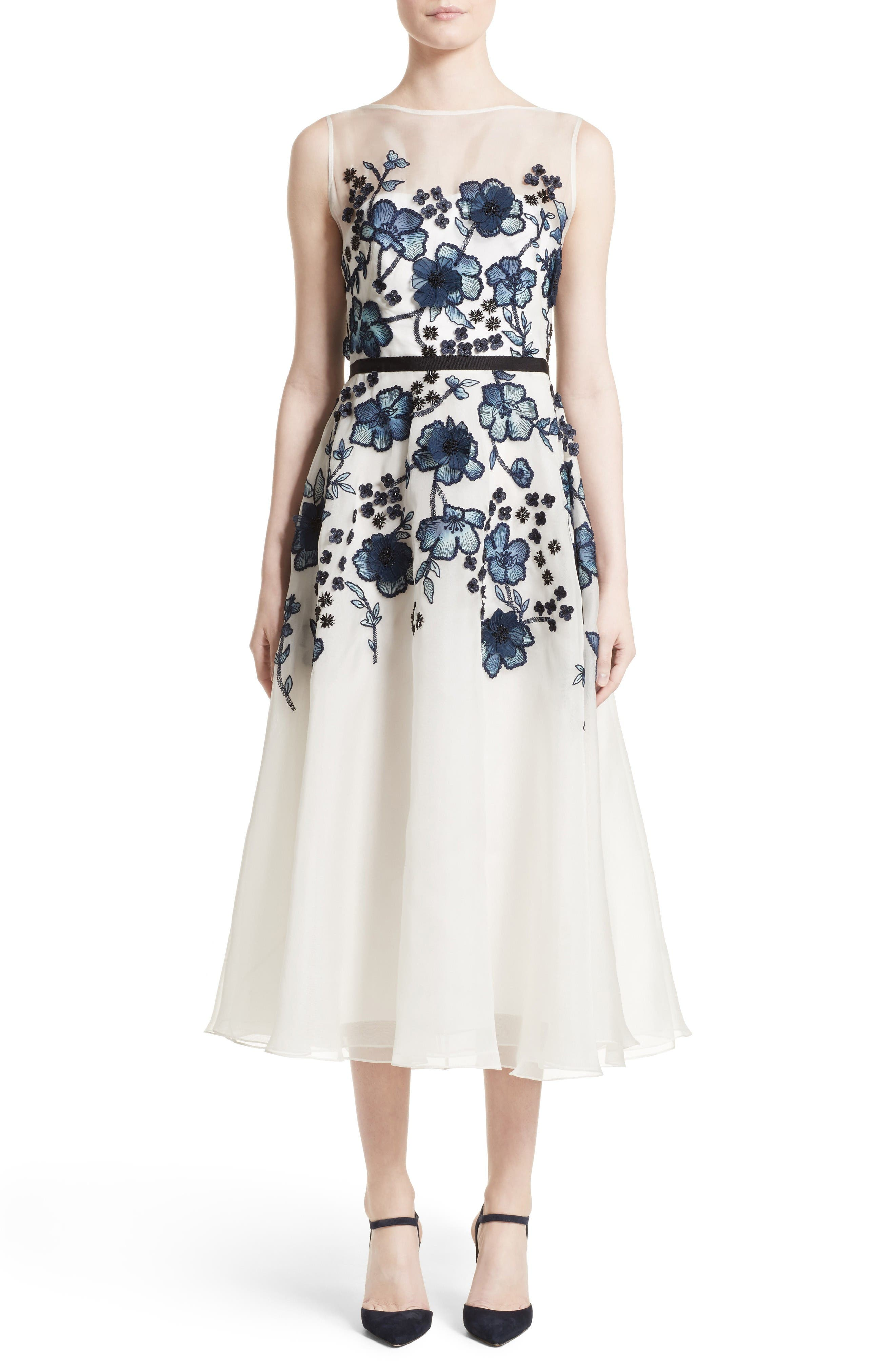 Floral Embroidered Dress,                             Main thumbnail 1, color,                             Navy/ Ivory