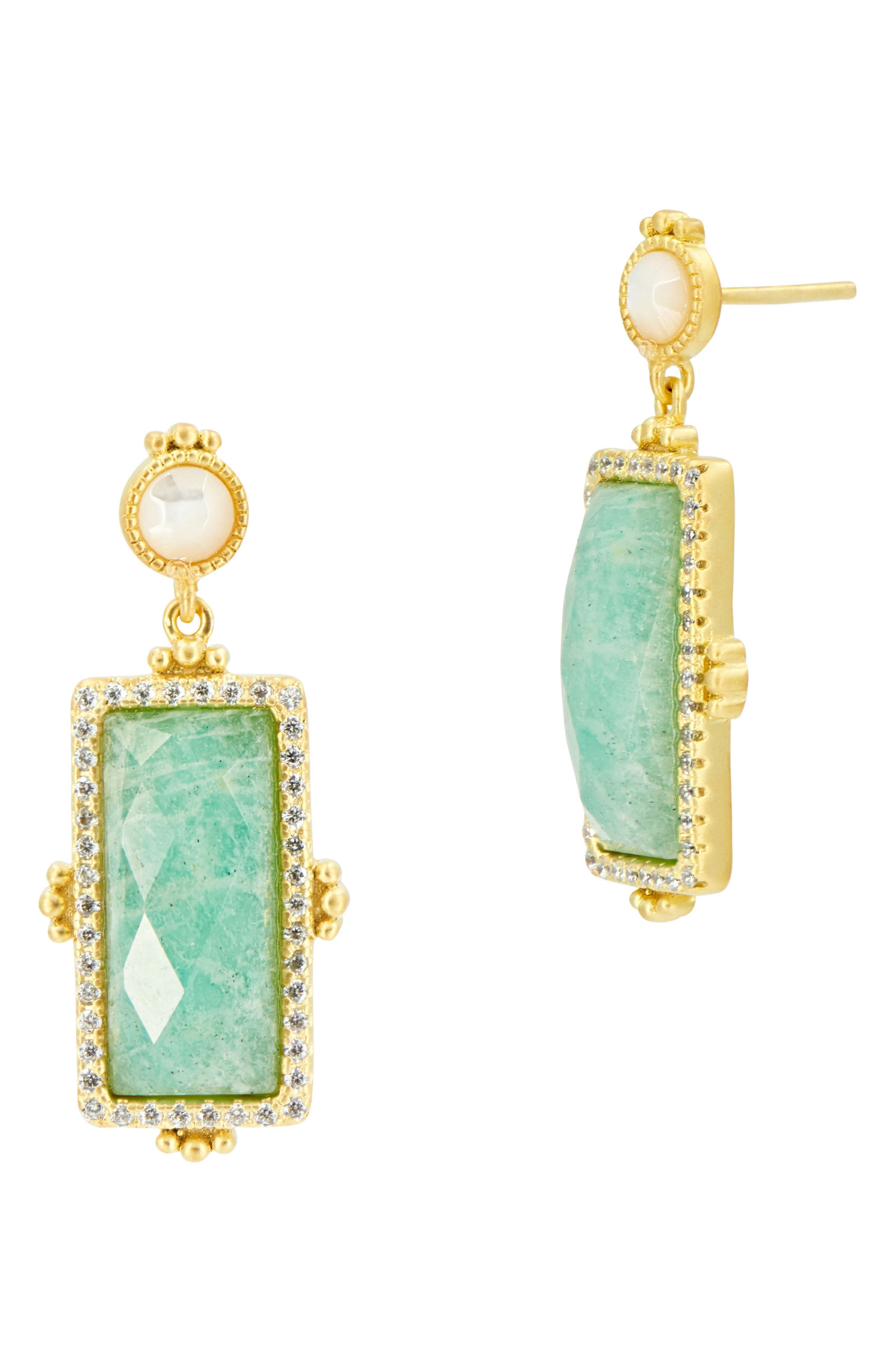 FREIDA ROTHMAN Amazonian Allure Rectangle Drop Earrings