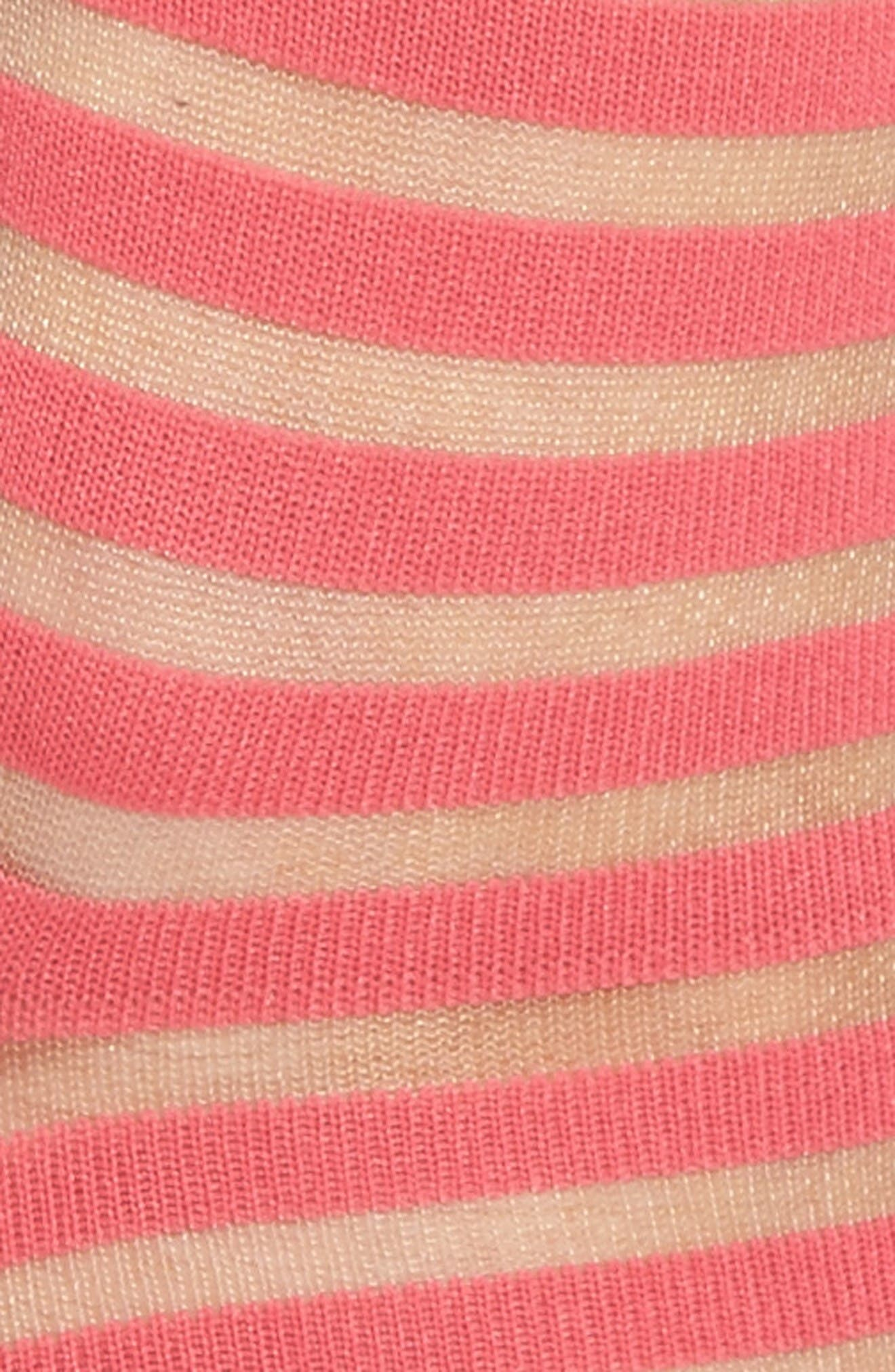 sheer stripe ankle socks,                             Alternate thumbnail 2, color,                             Tile Pink