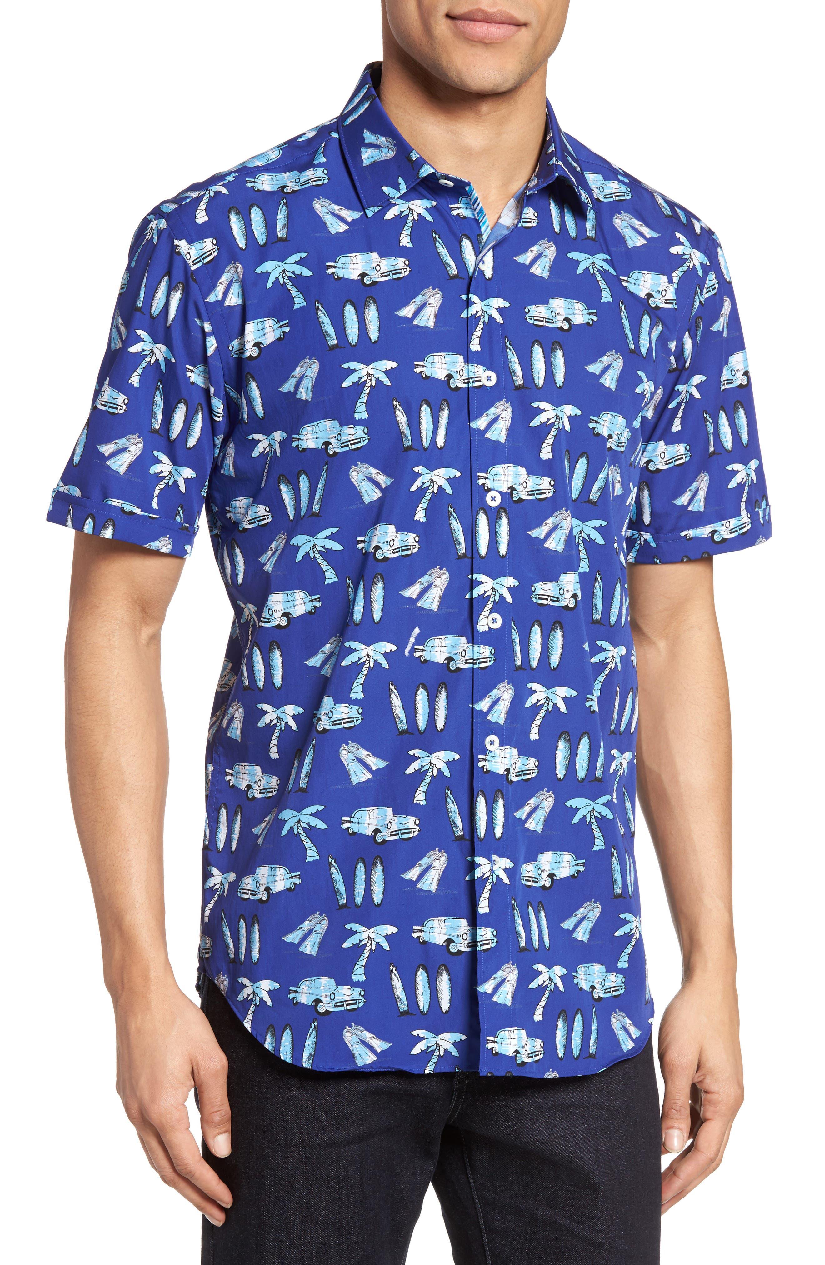 Shaped Fit Beach Print Sport Shirt,                             Main thumbnail 1, color,                             Navy