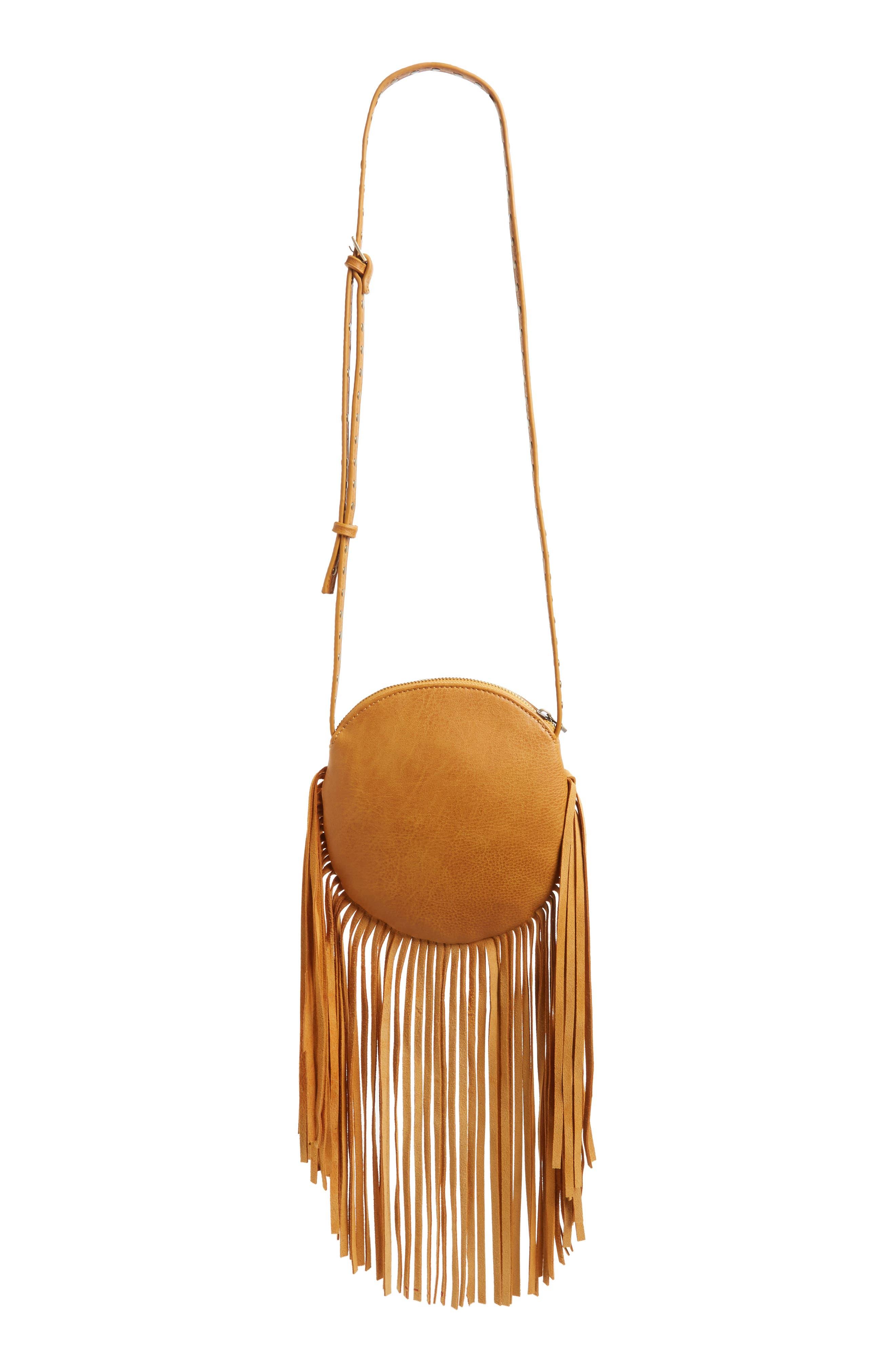 Alternate Image 3  - Street Level Fringe Faux Leather Round Crossbody Bag