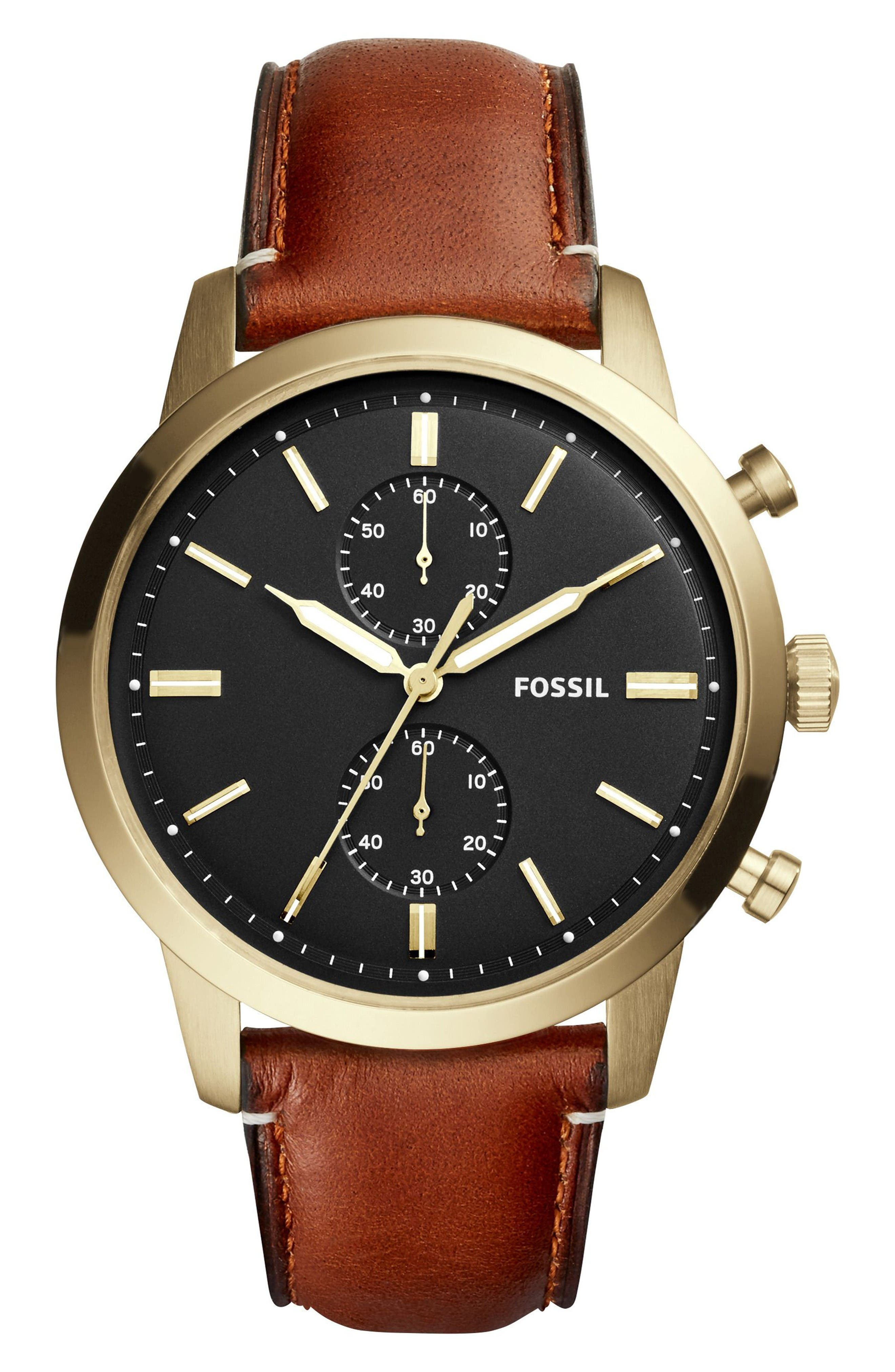 Townsman Multifunction Leather Strap Watch, 44mm,                         Main,                         color, Brown/ Black/ Gold