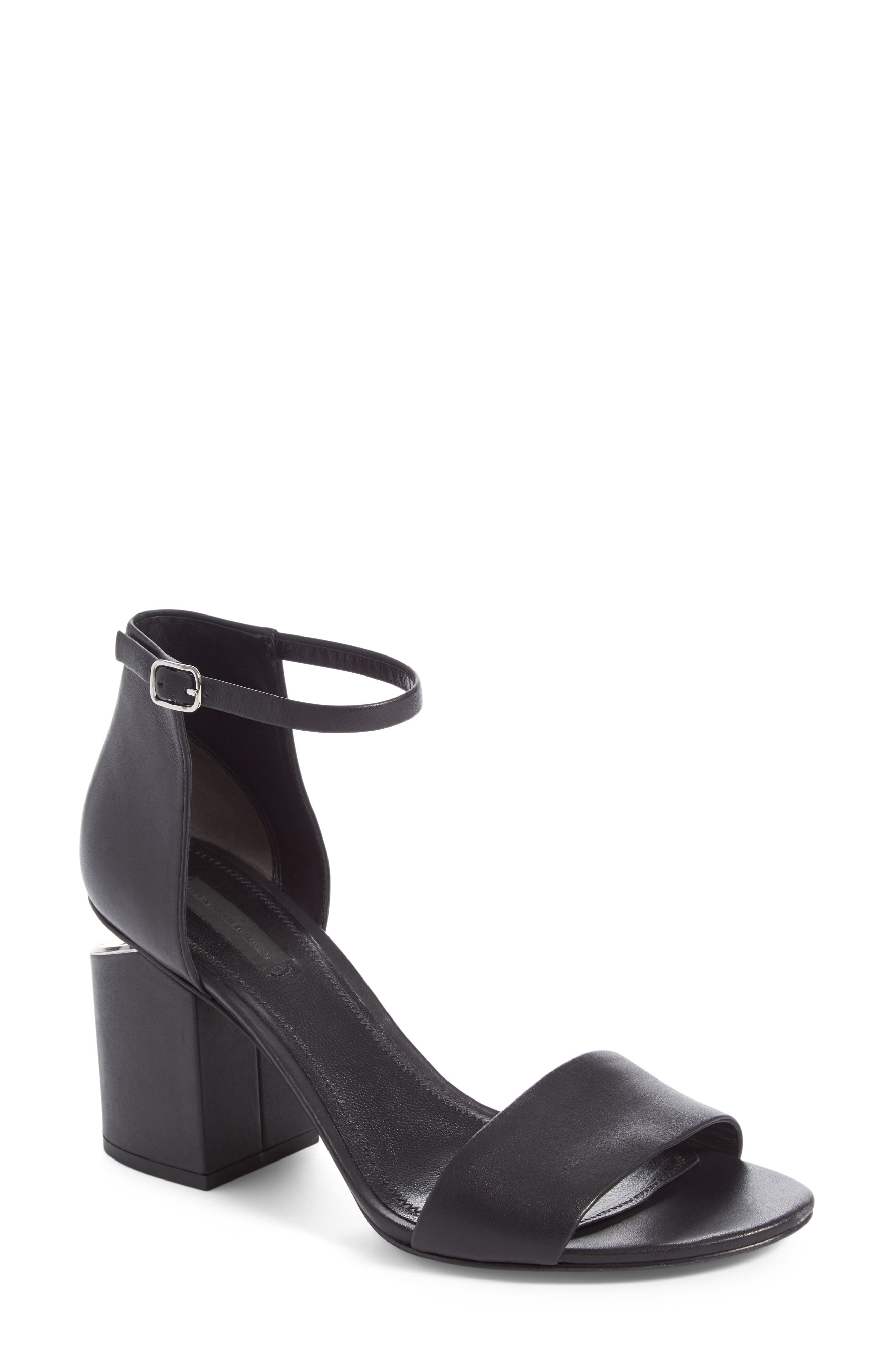 'Abby' Ankle Strap Sandal,                             Main thumbnail 1, color,                             Black