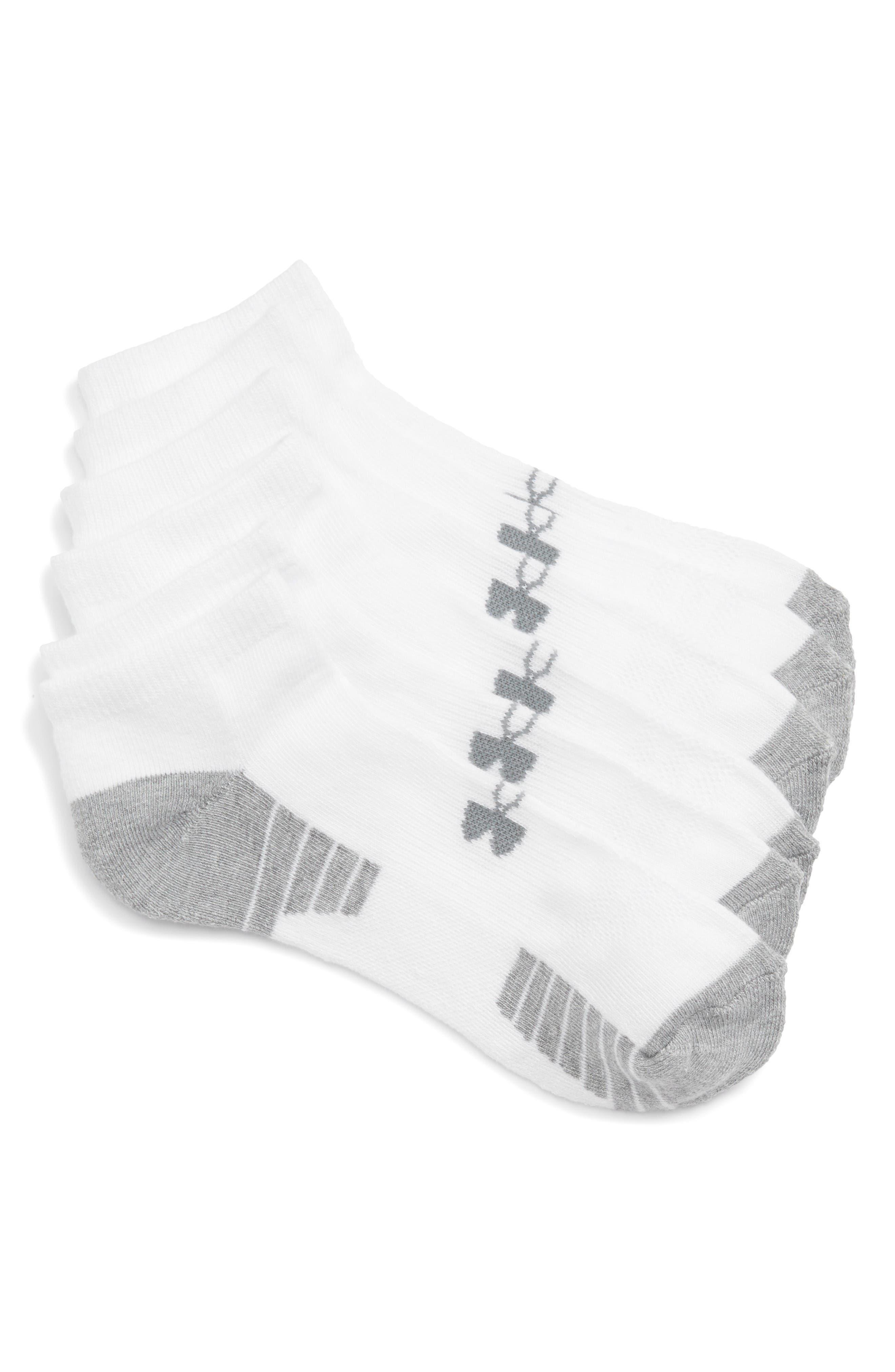 HeatGear 3-Pack No-Show Socks,                         Main,                         color, White