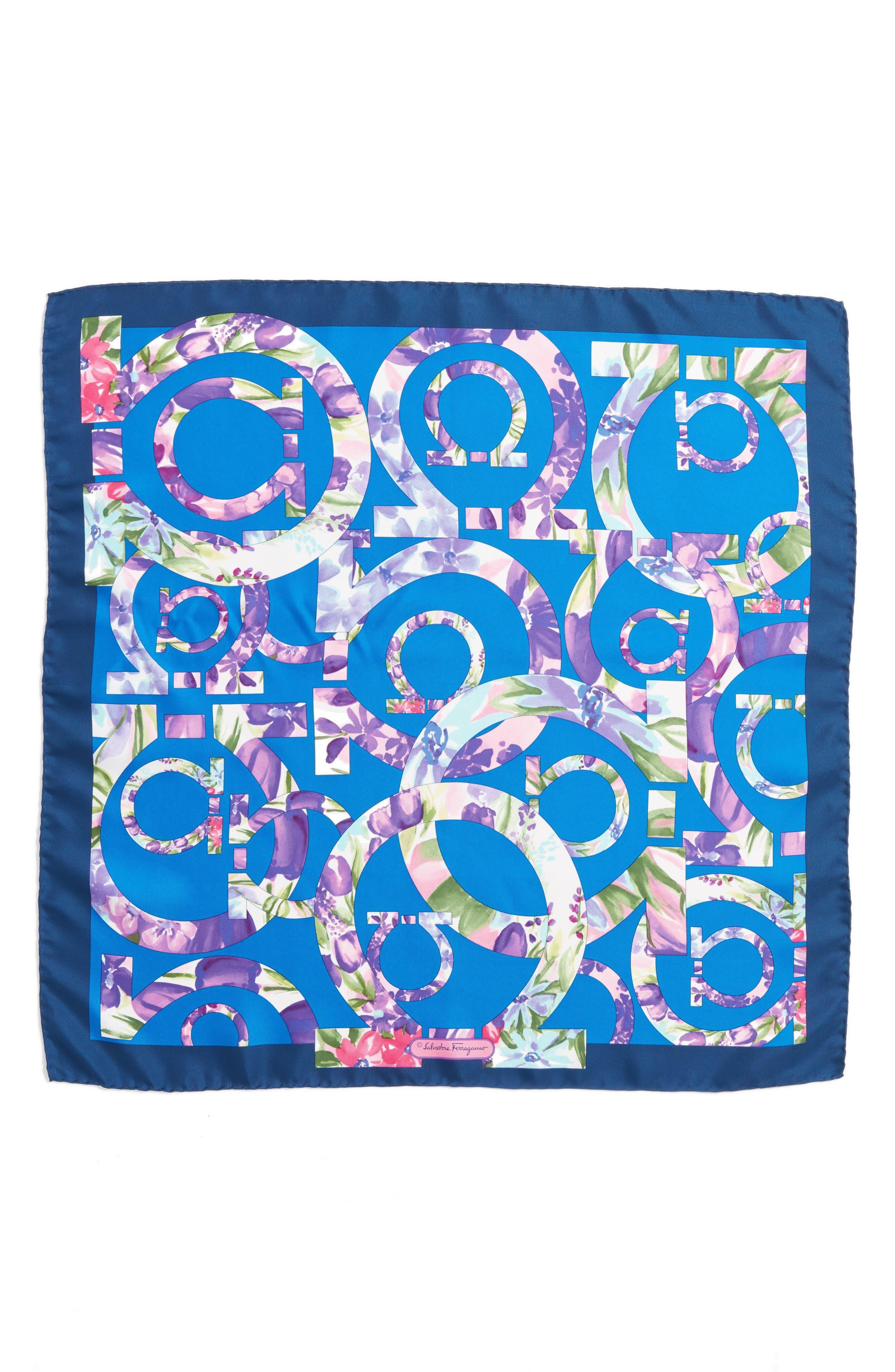 Silk Scarf,                         Main,                         color, F.Blu/ B.Marine