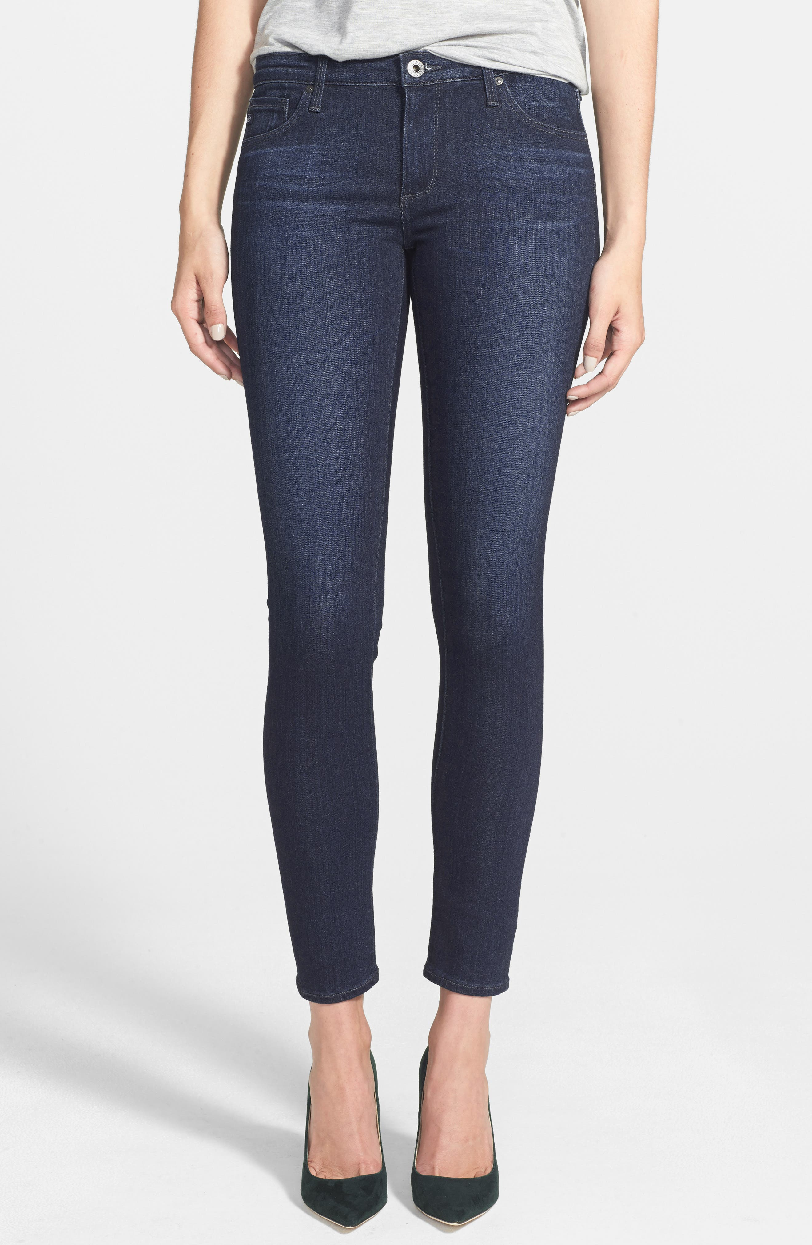 Alternate Image 1 Selected - AG The Legging Ankle Super Skinny Jeans (Coal Grey)