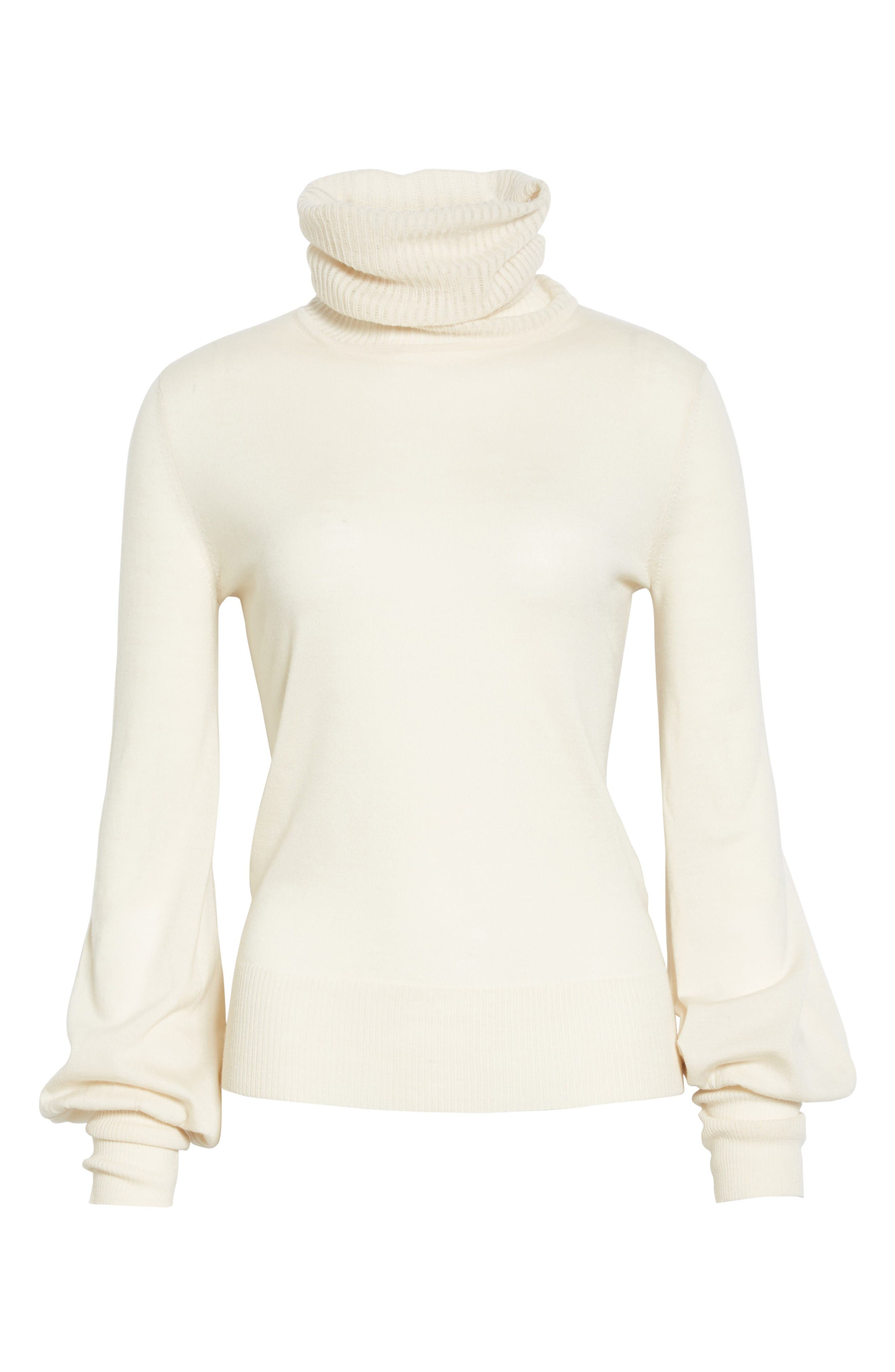 Wool Turtleneck Sweater,                             Alternate thumbnail 4, color,                             Off White