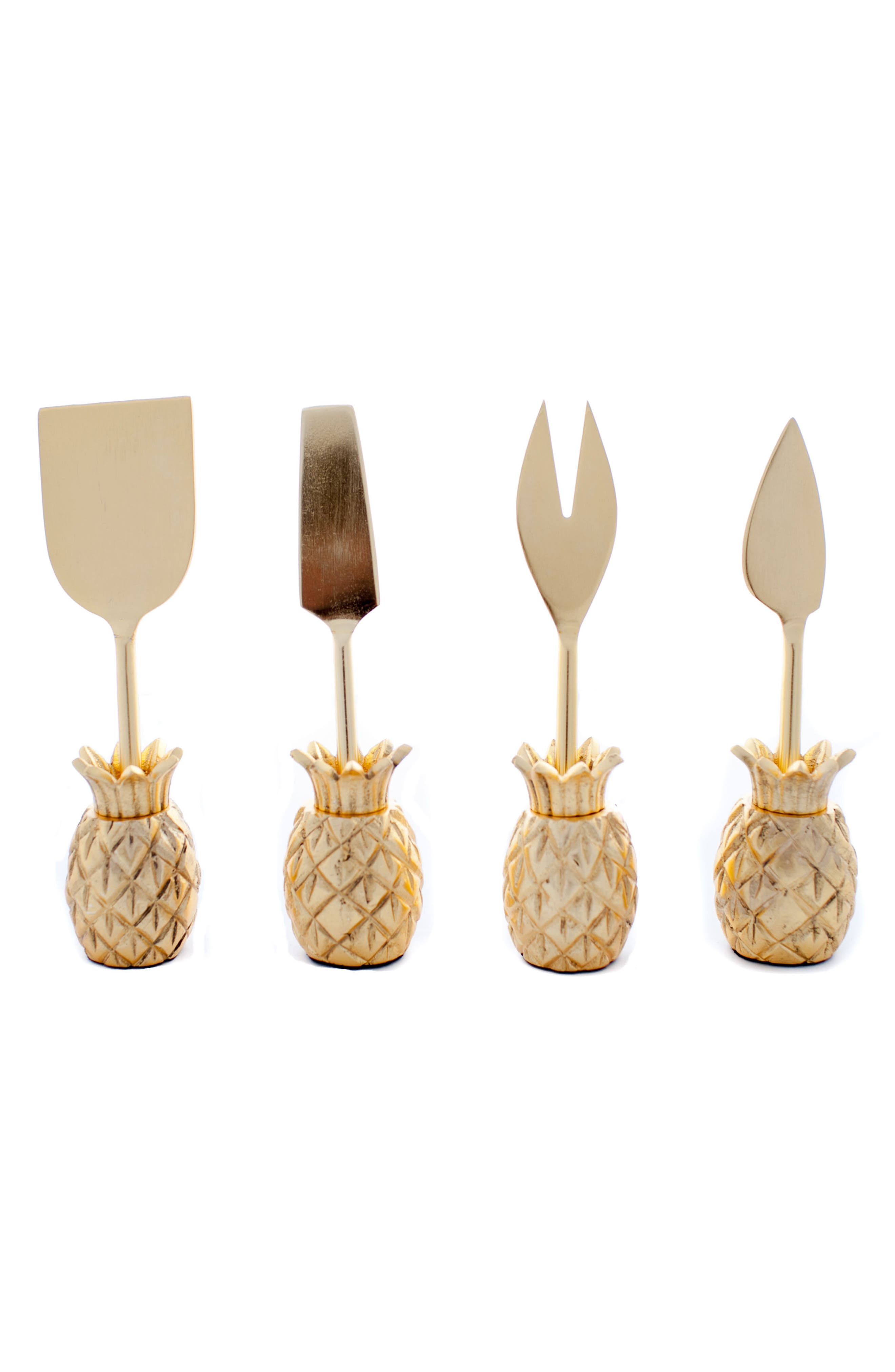 Luau Set of 4 Cheese Knives,                         Main,                         color, Gold