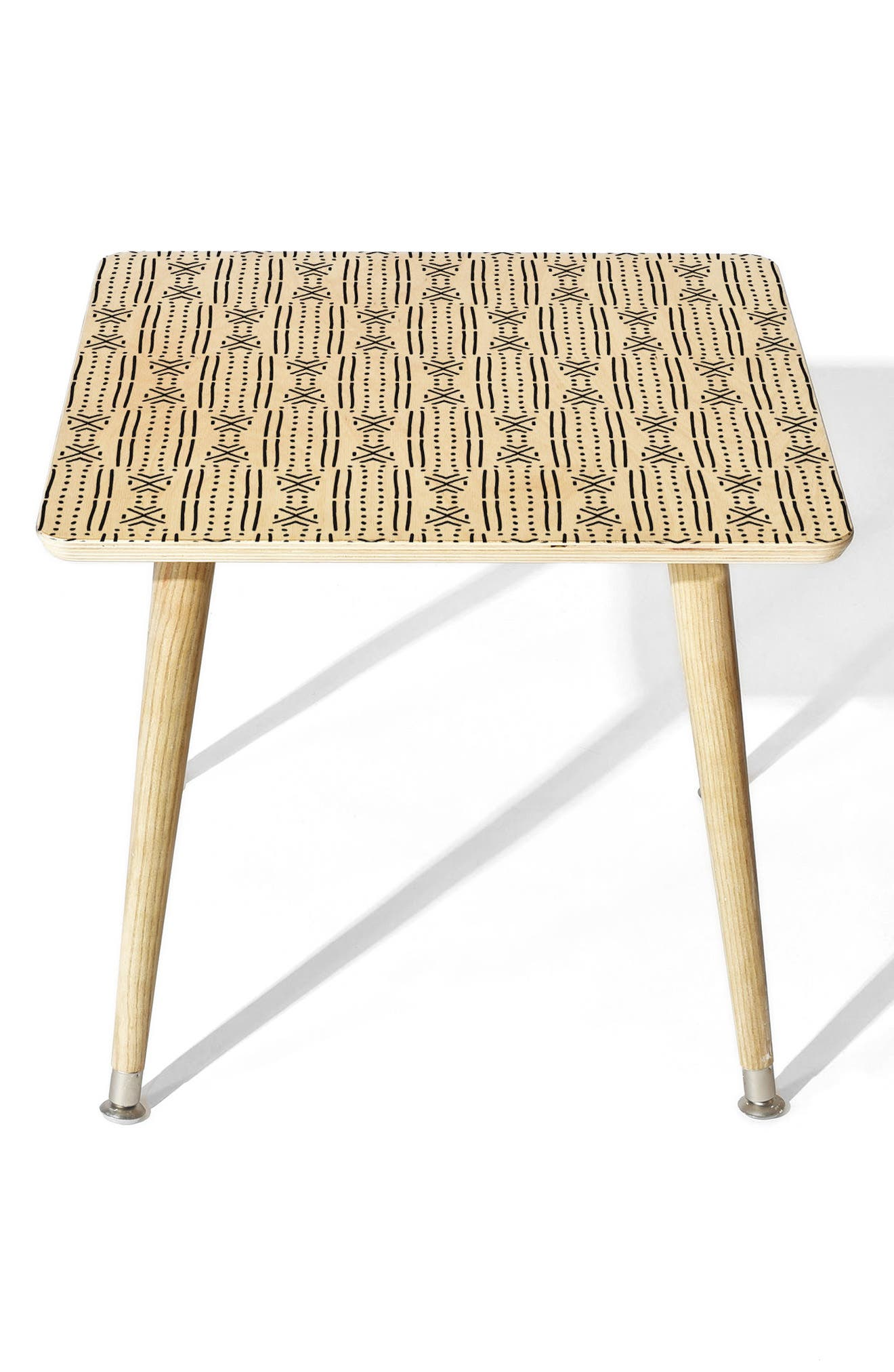 Mudcloth Side Table,                         Main,                         color, White