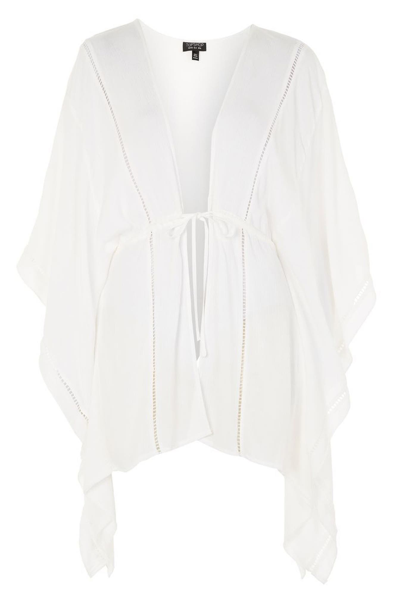 Ladder Stitch Cover-Up Caftan,                             Alternate thumbnail 4, color,                             White