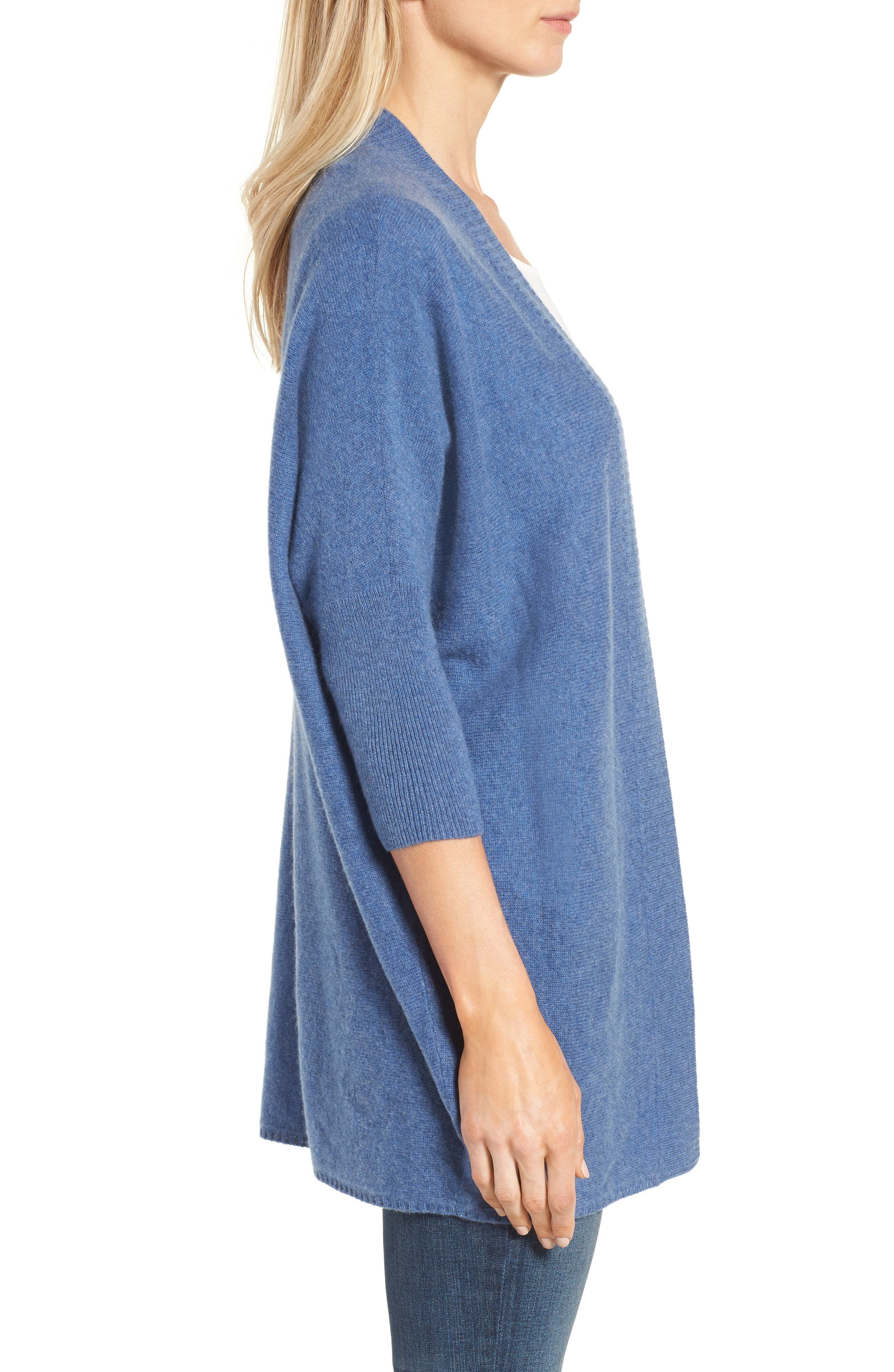 Alternate Image 3  - Halogen® Three-Quarter Sleeve Cashmere Cardigan