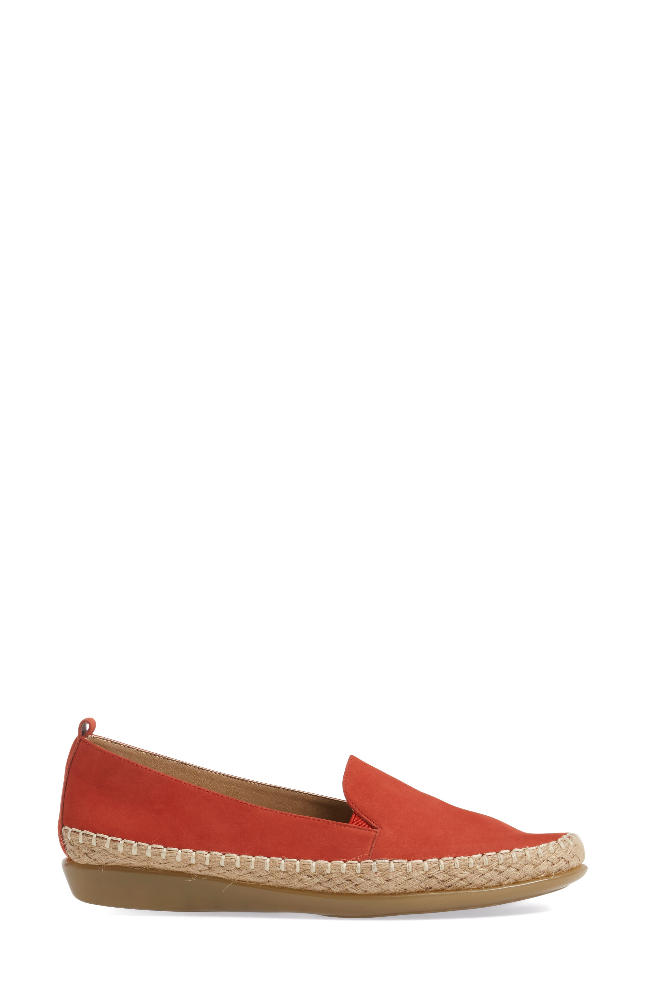 Nadette Espadrille Loafer Flat,                             Alternate thumbnail 3, color,                             Red Leather