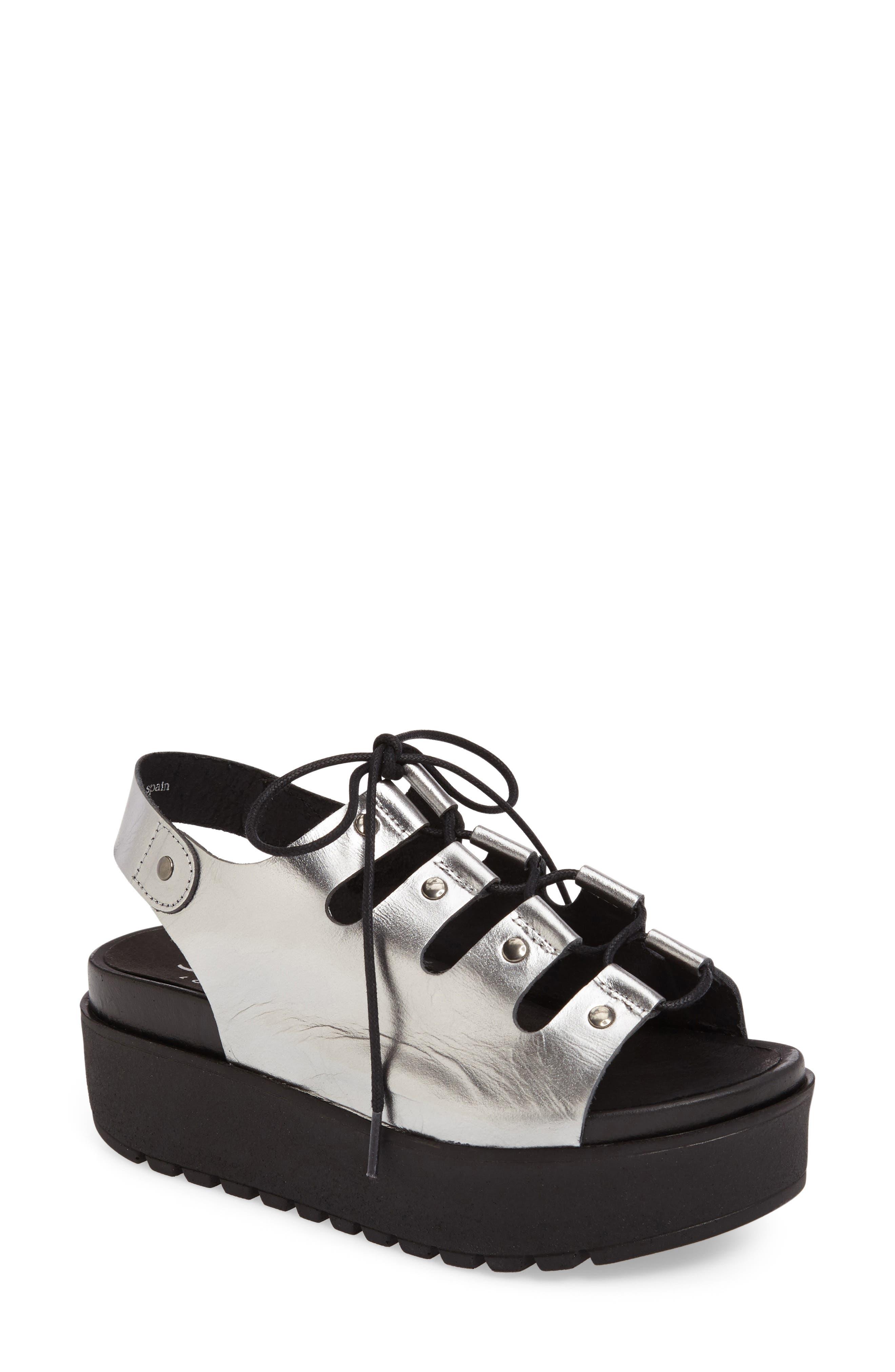Kacey Platform Sandal,                         Main,                         color, Pewter