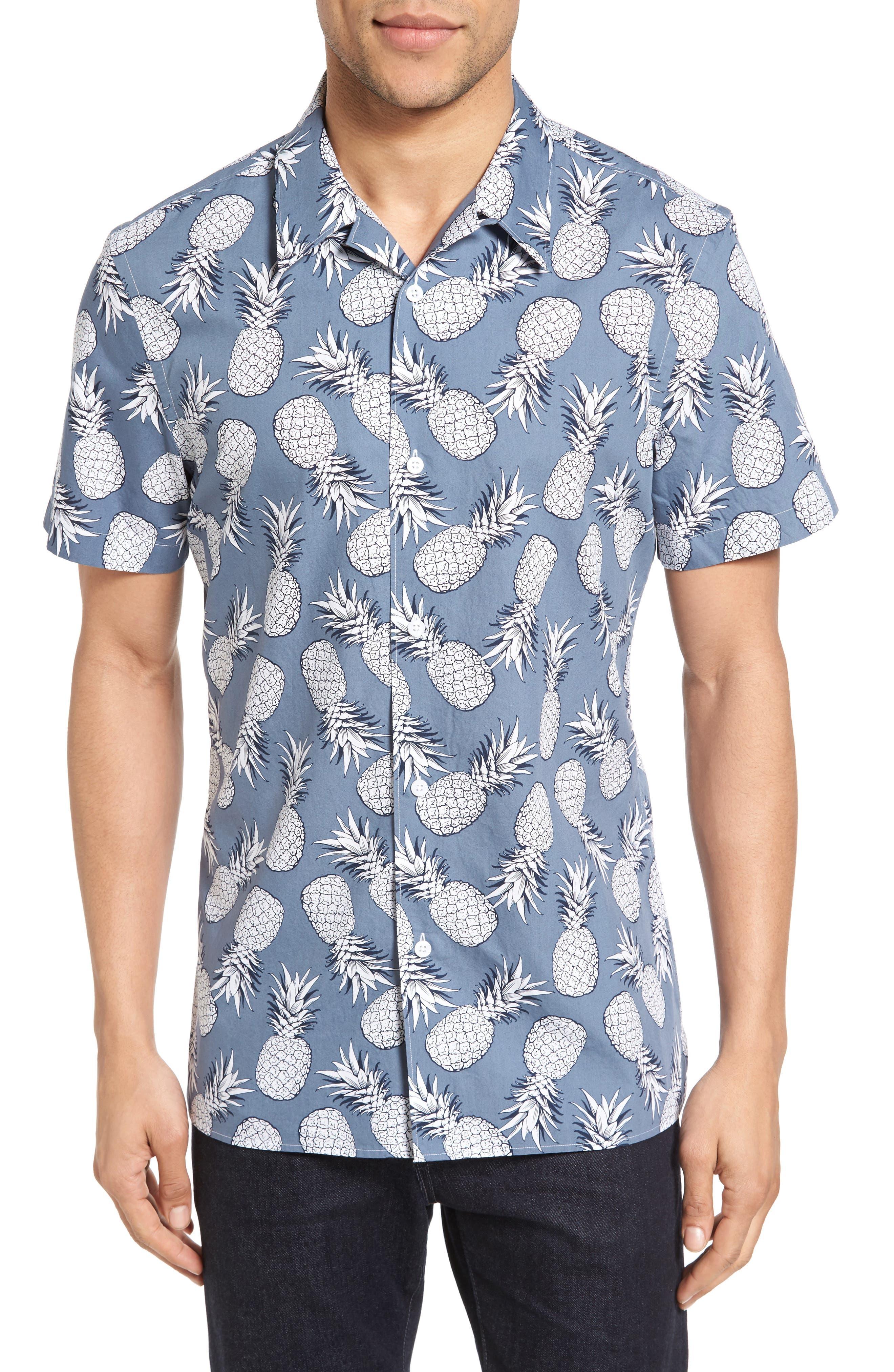 NORDSTROM MENS SHOP Slim Fit Pineapple Camp Shirt