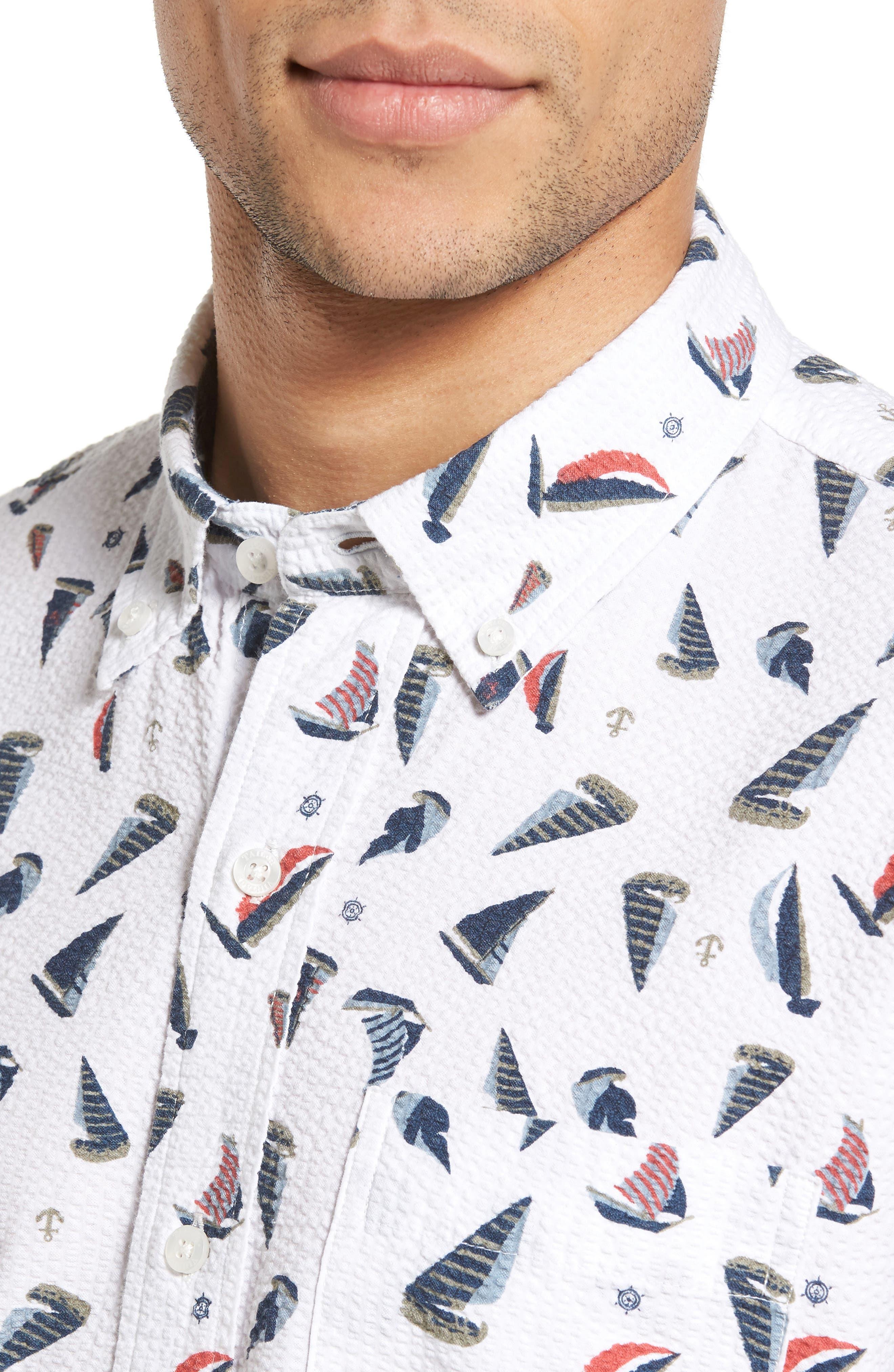 Alternate Image 4  - Tailor Vintage Sailboat Seersucker Sport Shirt