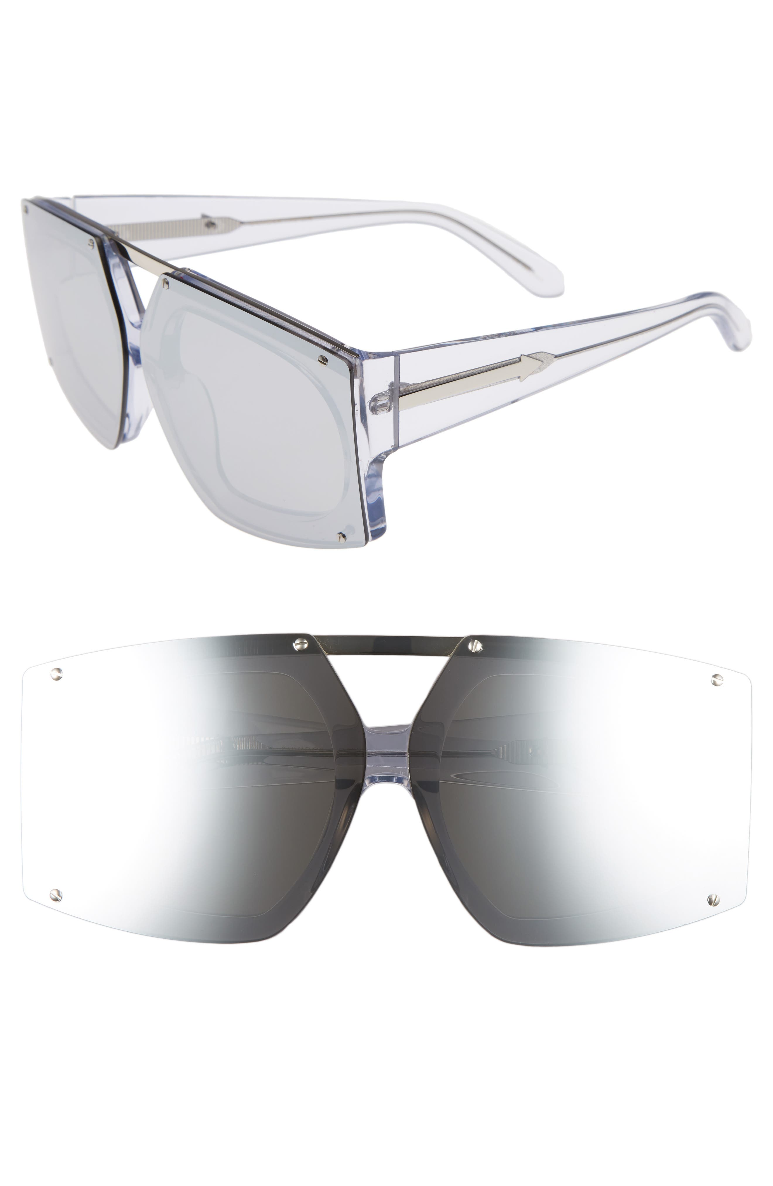 70mm Mirrored Oversized Sunglasses,                             Main thumbnail 1, color,                             Crystal Clear/ Silver