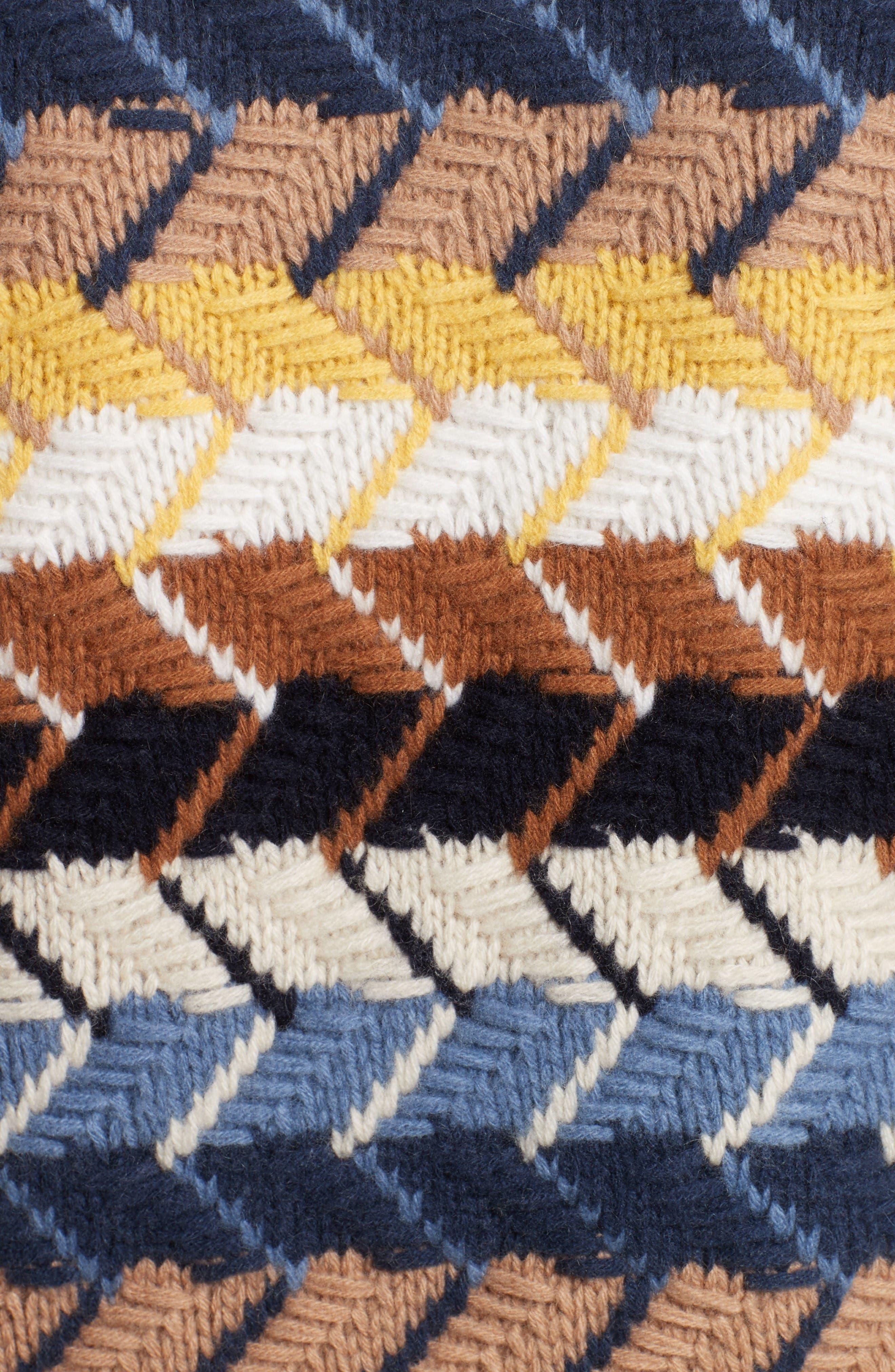 Herringbone Wool & Cashmere Turtleneck Sweater,                             Alternate thumbnail 3, color,                             Multicolor Blue