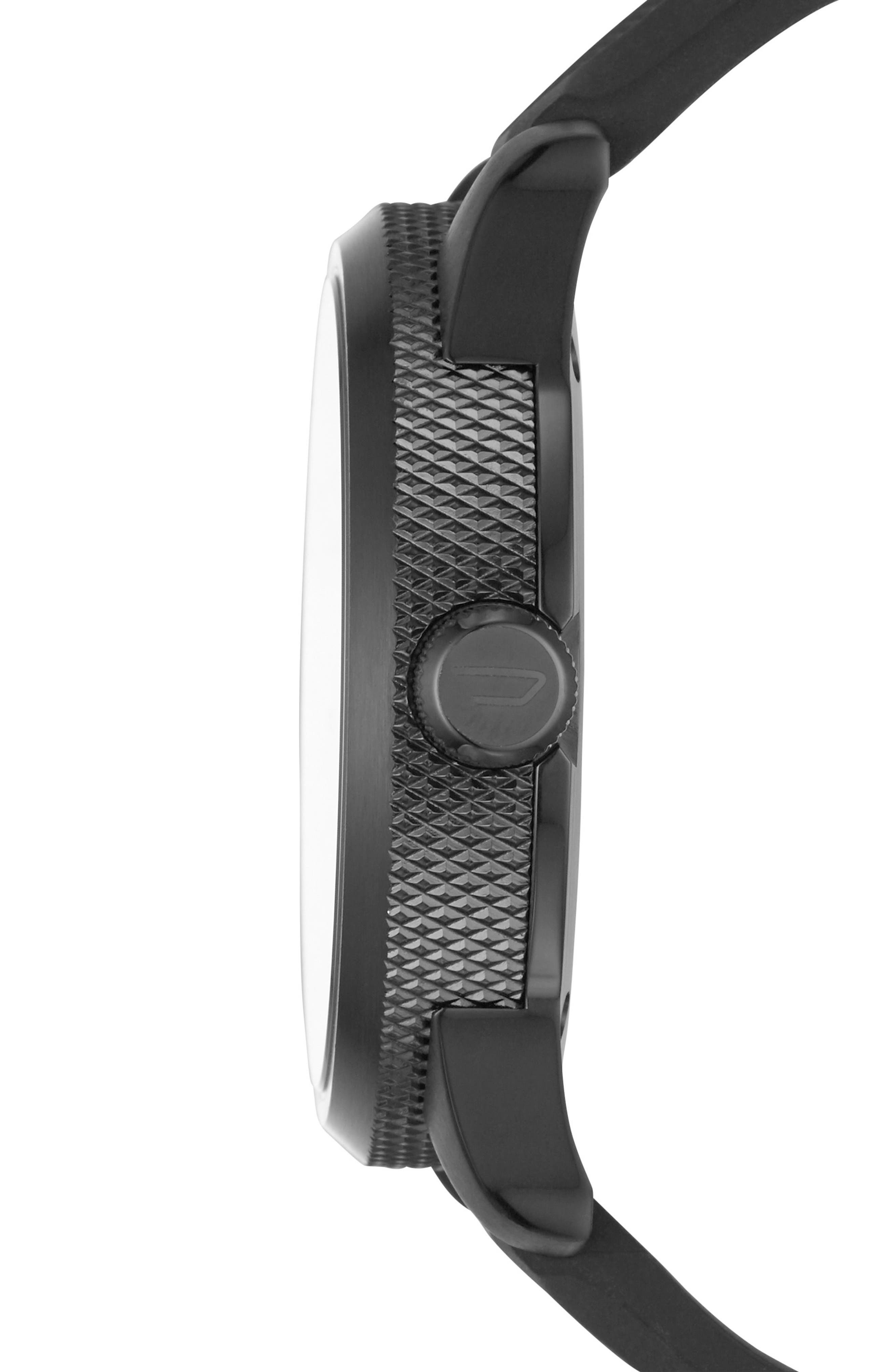 Rasp Silicone Strap Watch, 46mm,                             Alternate thumbnail 2, color,                             Black/ Black