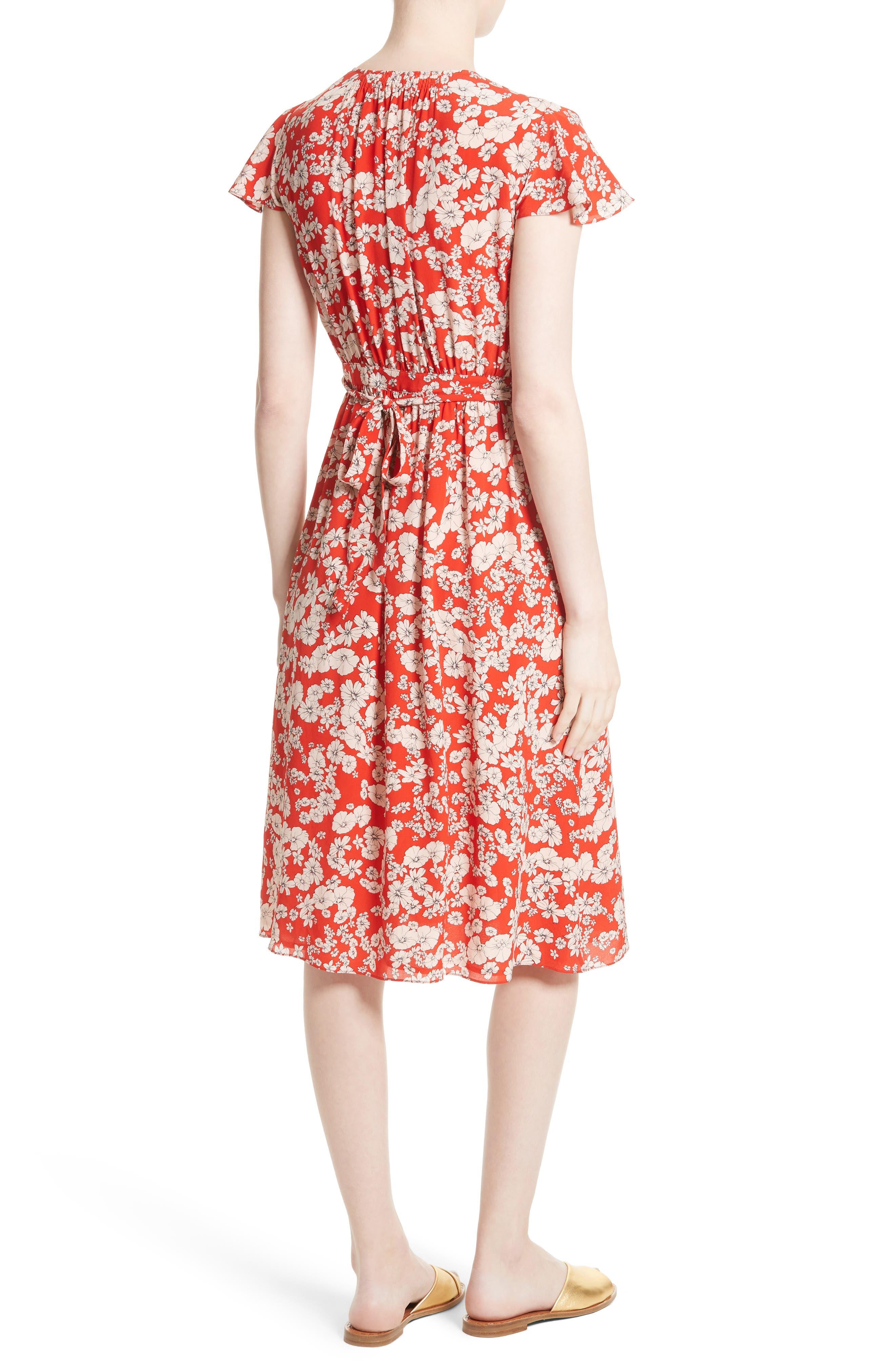 Cherry Blossom Silk Wrap Dress,                             Alternate thumbnail 2, color,                             Candy Apple Combo