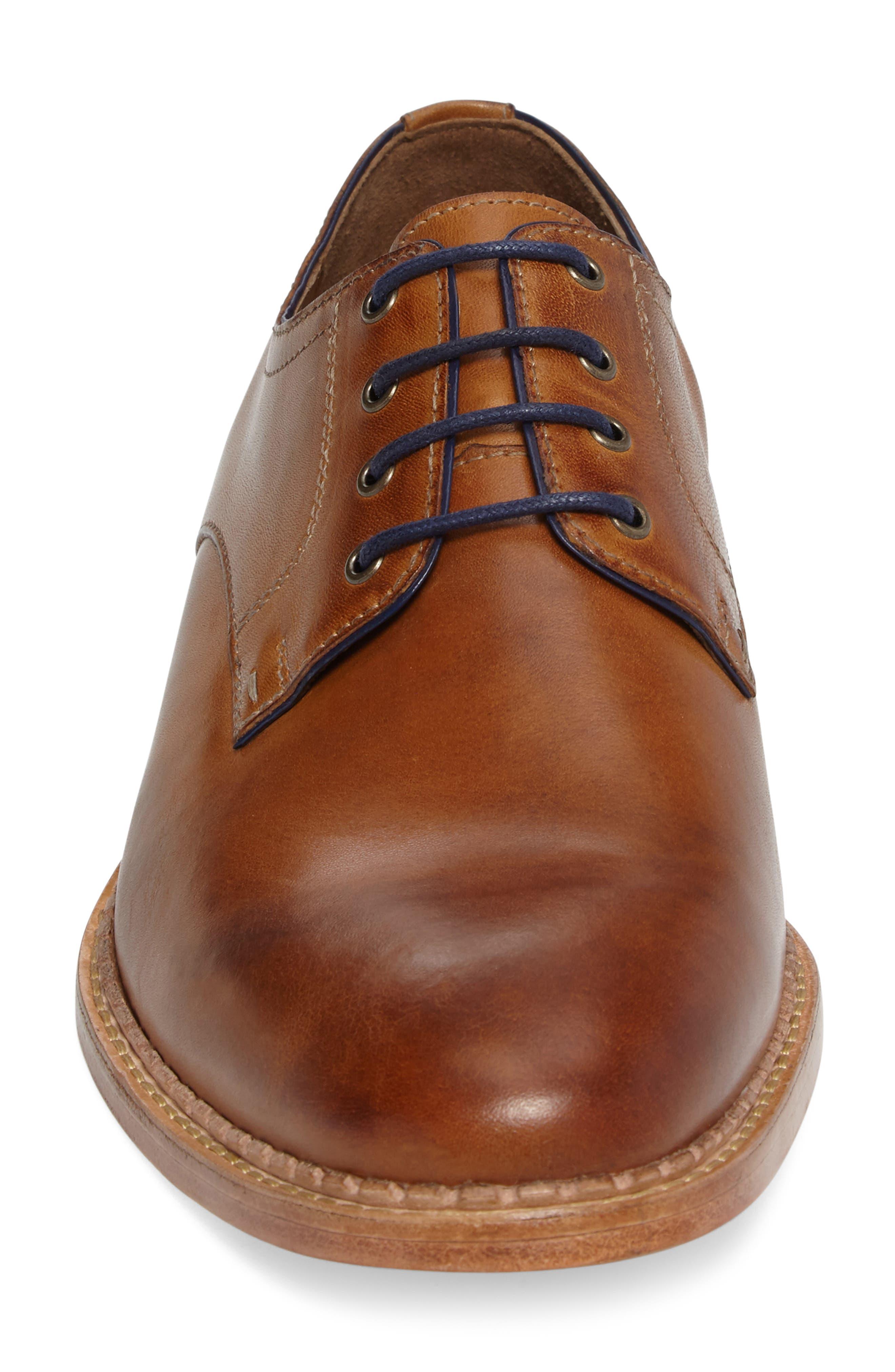 Chambliss Plain Toe Derby,                             Alternate thumbnail 4, color,                             Tan Calfskin
