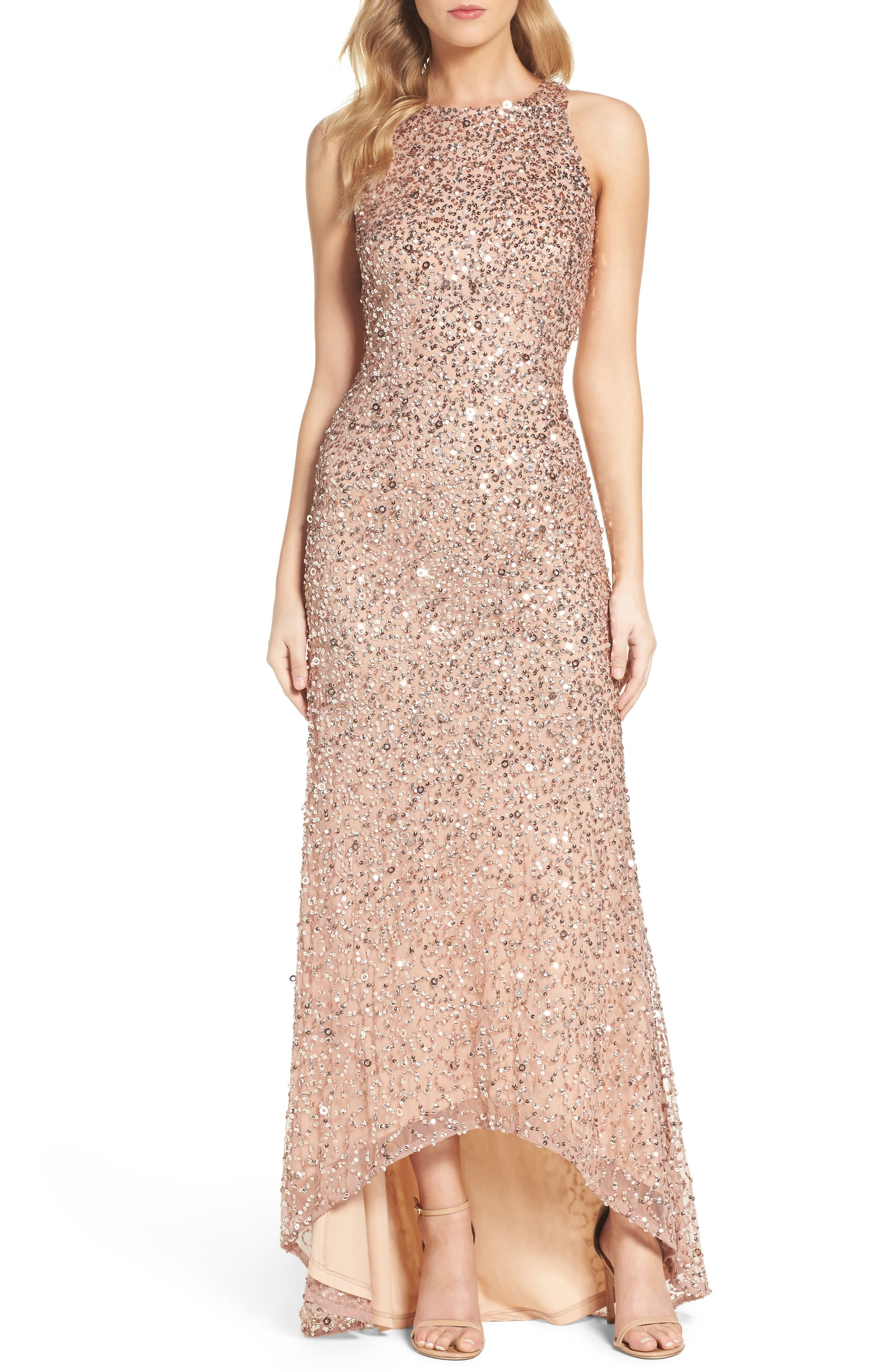 Sequin High/Low Gown,                         Main,                         color, Rose Gold