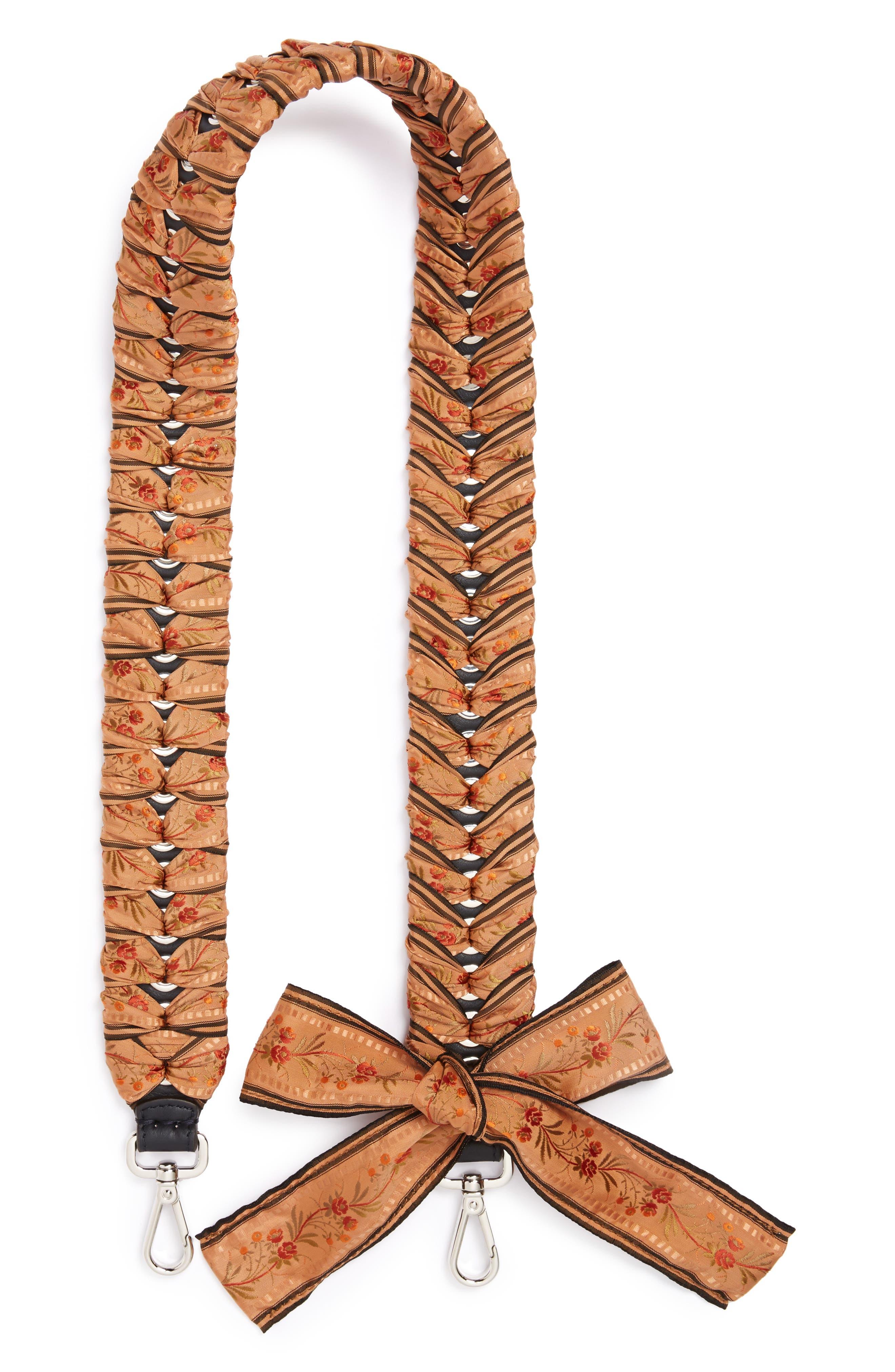 Floral Ribbon Guitar Bag Strap,                             Main thumbnail 1, color,                             White Multi