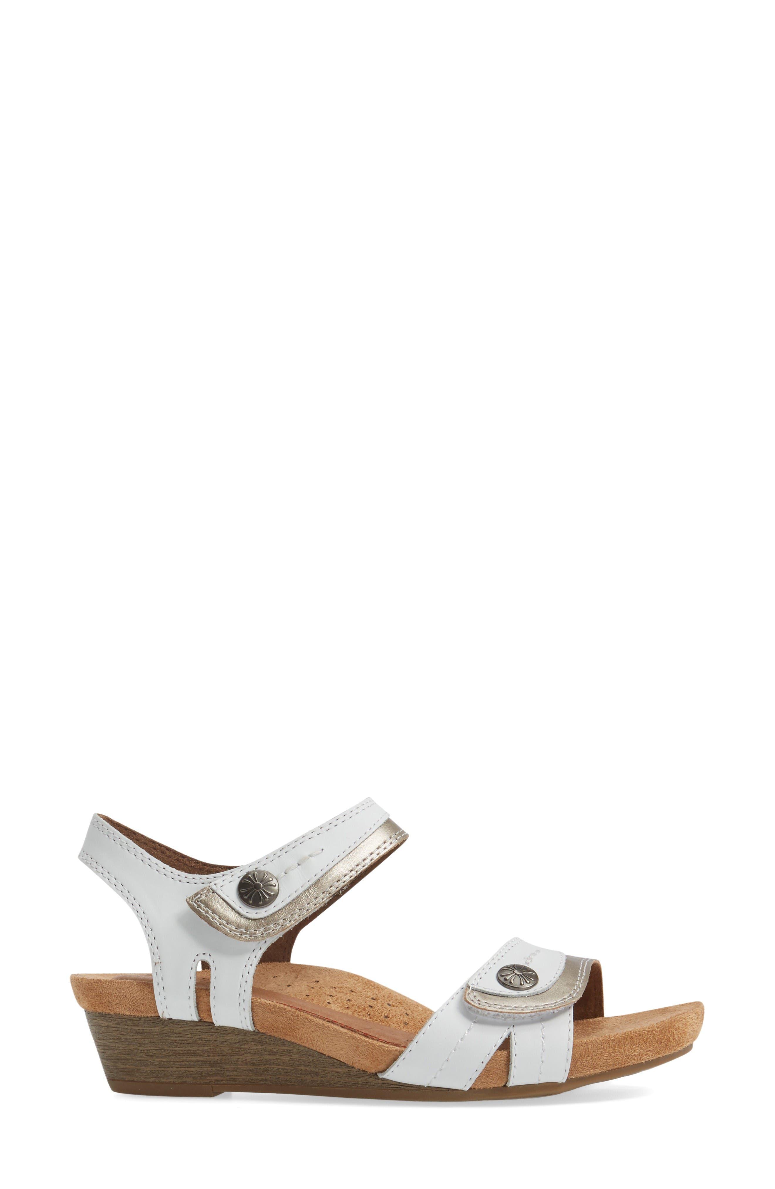 Hollywood Wedge Sandal,                             Alternate thumbnail 3, color,                             White Leather