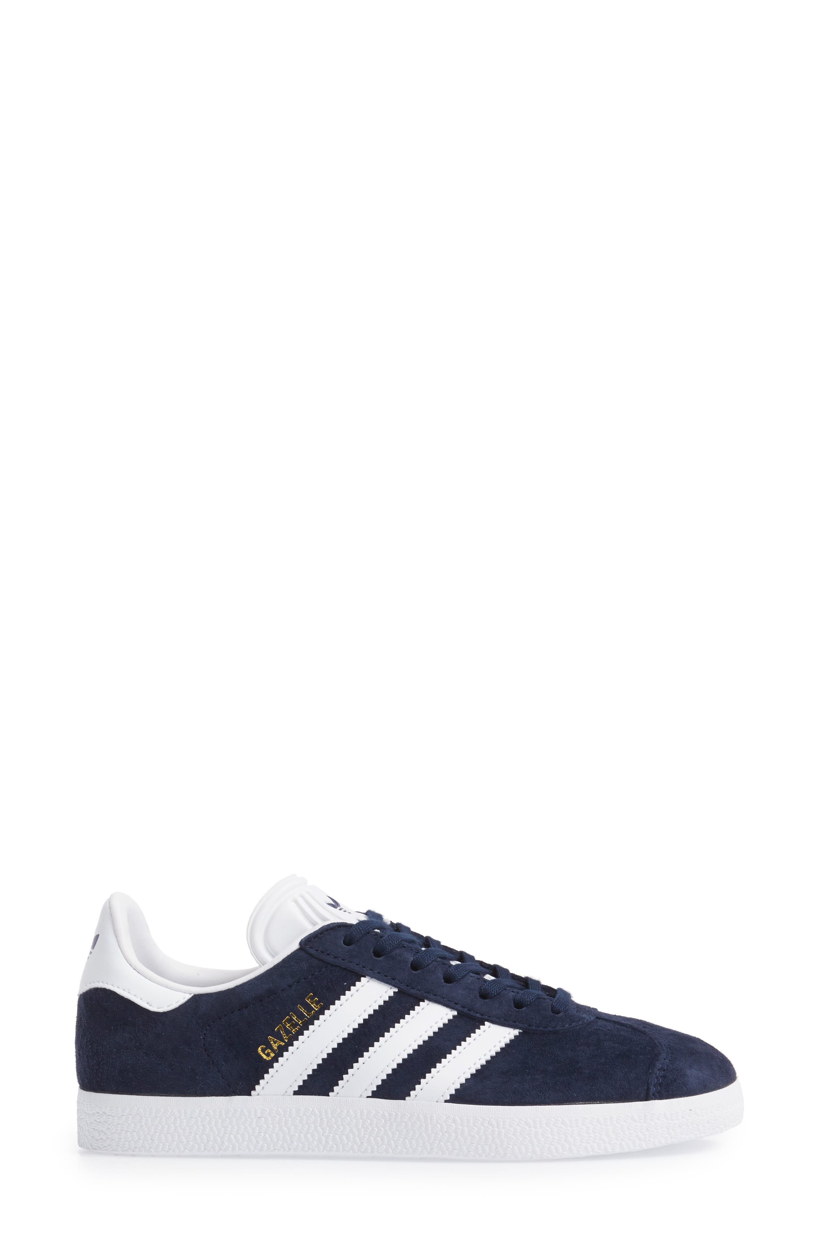 Gazelle Sneaker,                             Alternate thumbnail 3, color,                             Navy/ White/ Gold Metallic