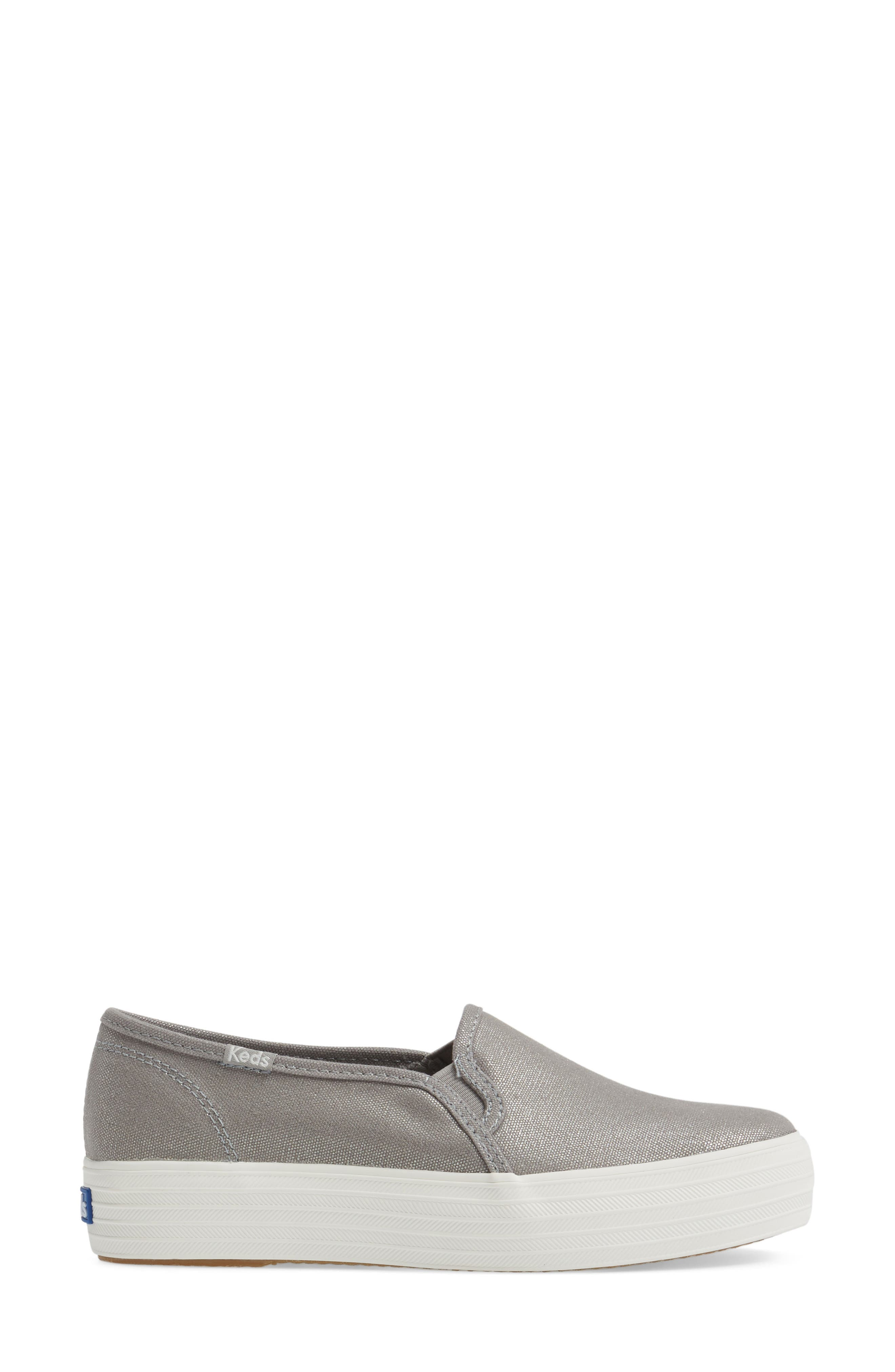 Triple Decker Slip-On Platform Sneaker,                             Alternate thumbnail 3, color,                             Silver