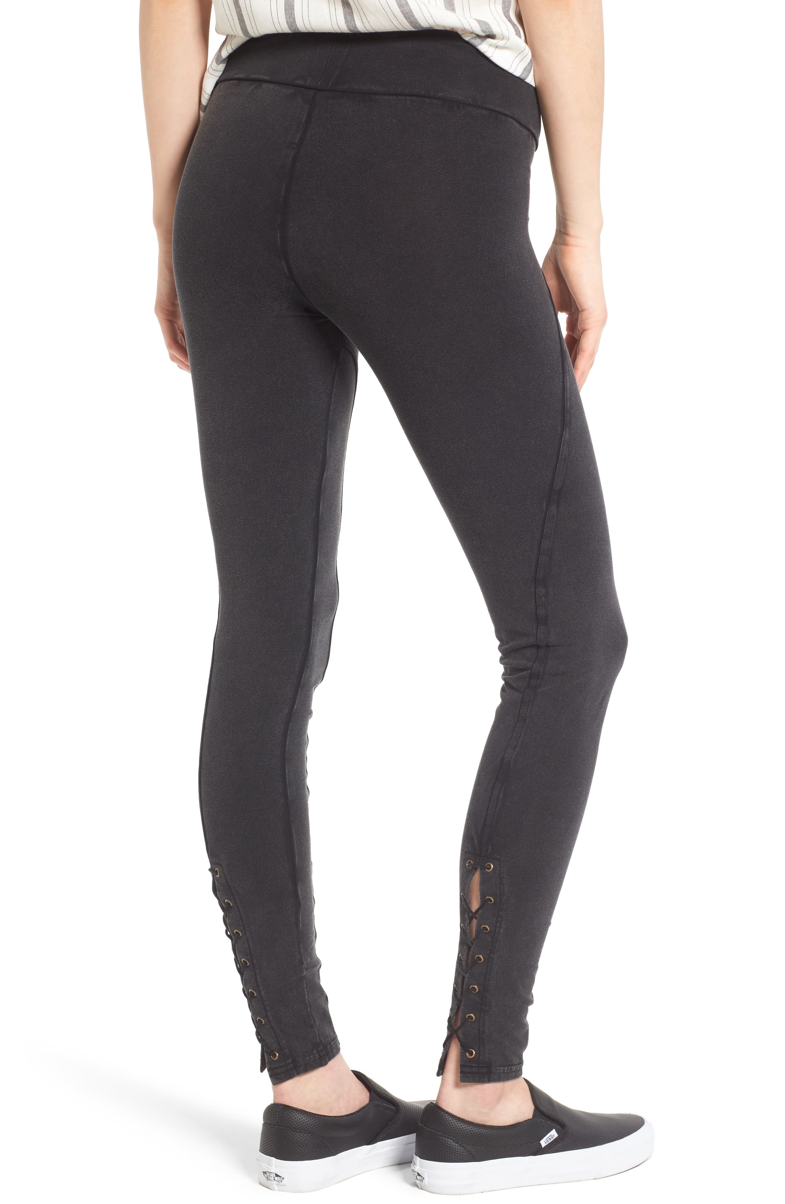 Alternate Image 2  - Sun & Shadow Lace-Up Leggings