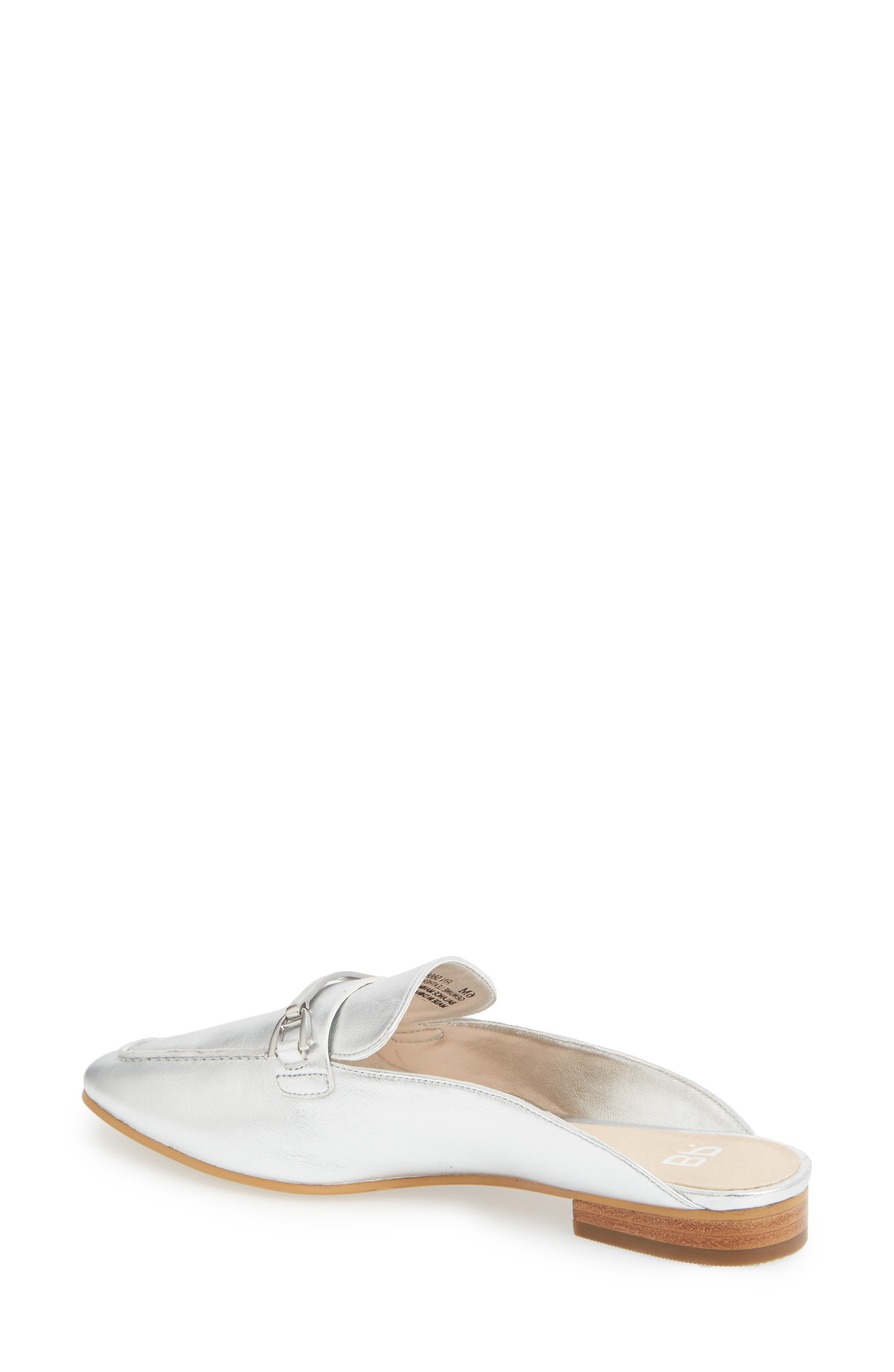 Milo Loafer Mule,                             Alternate thumbnail 2, color,                             Silver Metallic Leather