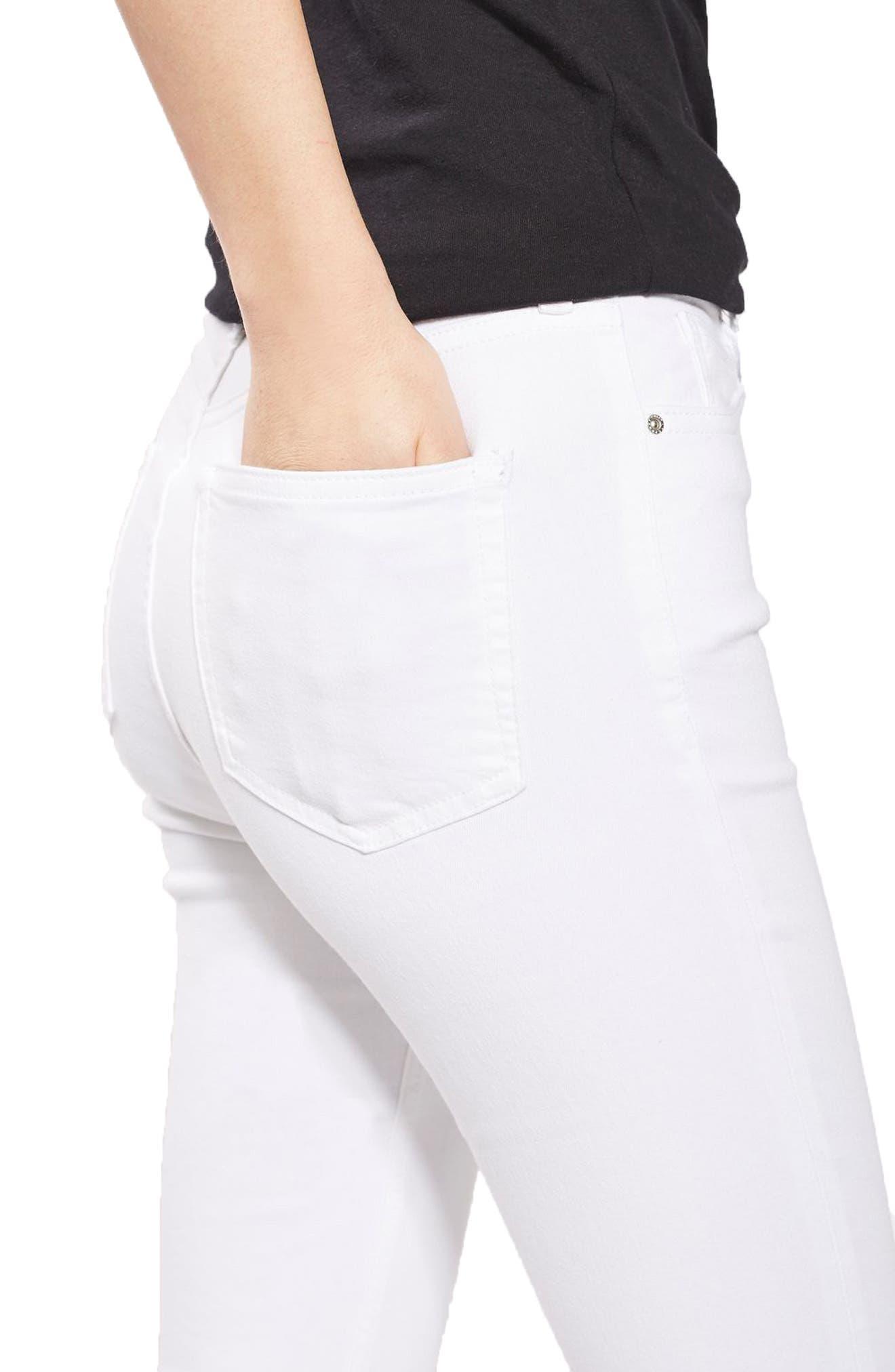 Jamie Raw Hem Skinny Jeans,                             Alternate thumbnail 5, color,                             White