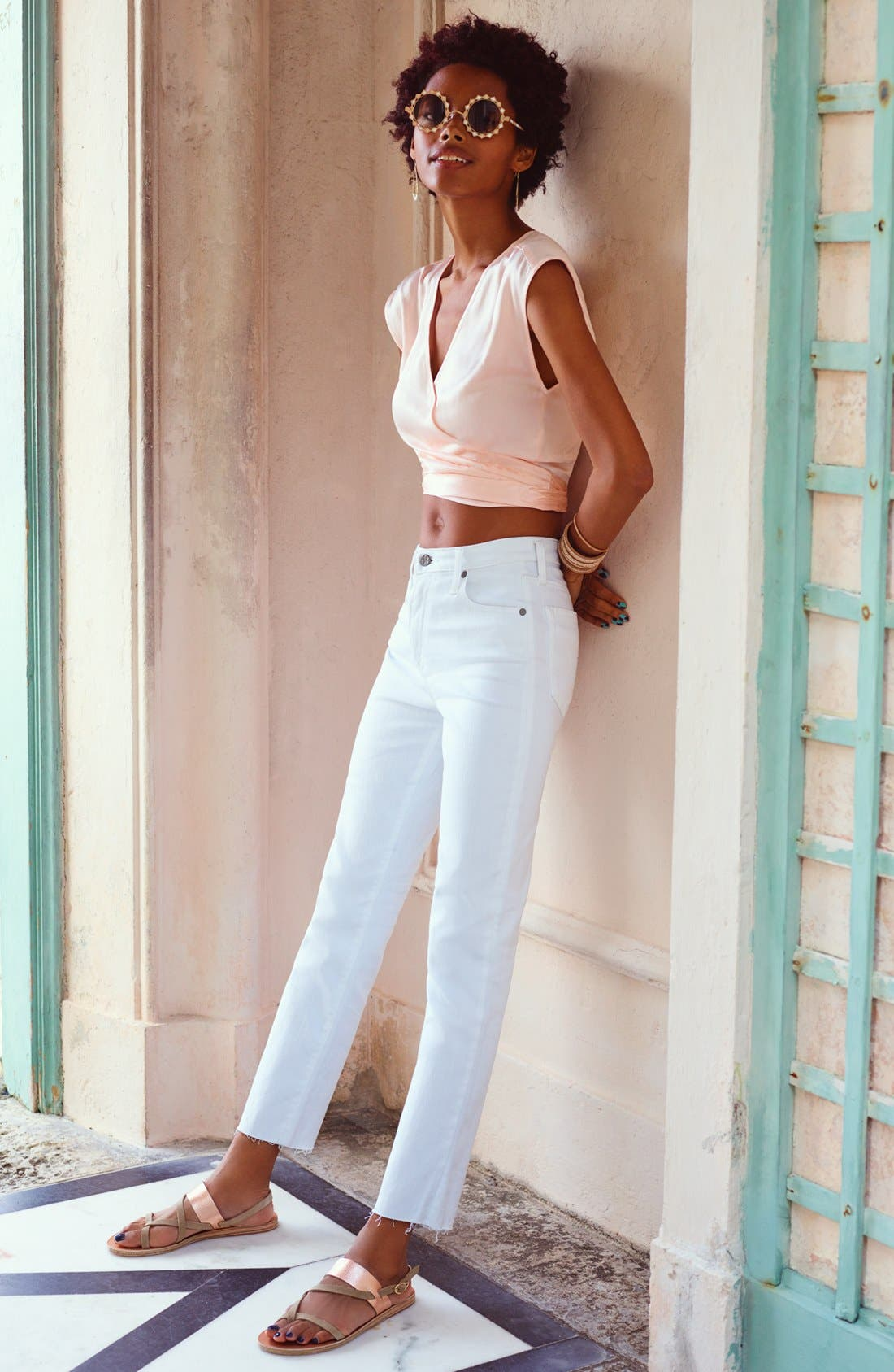 The Isabelle High Waist Crop Straight Leg Jeans,                             Alternate thumbnail 7, color,                             01 Years - White