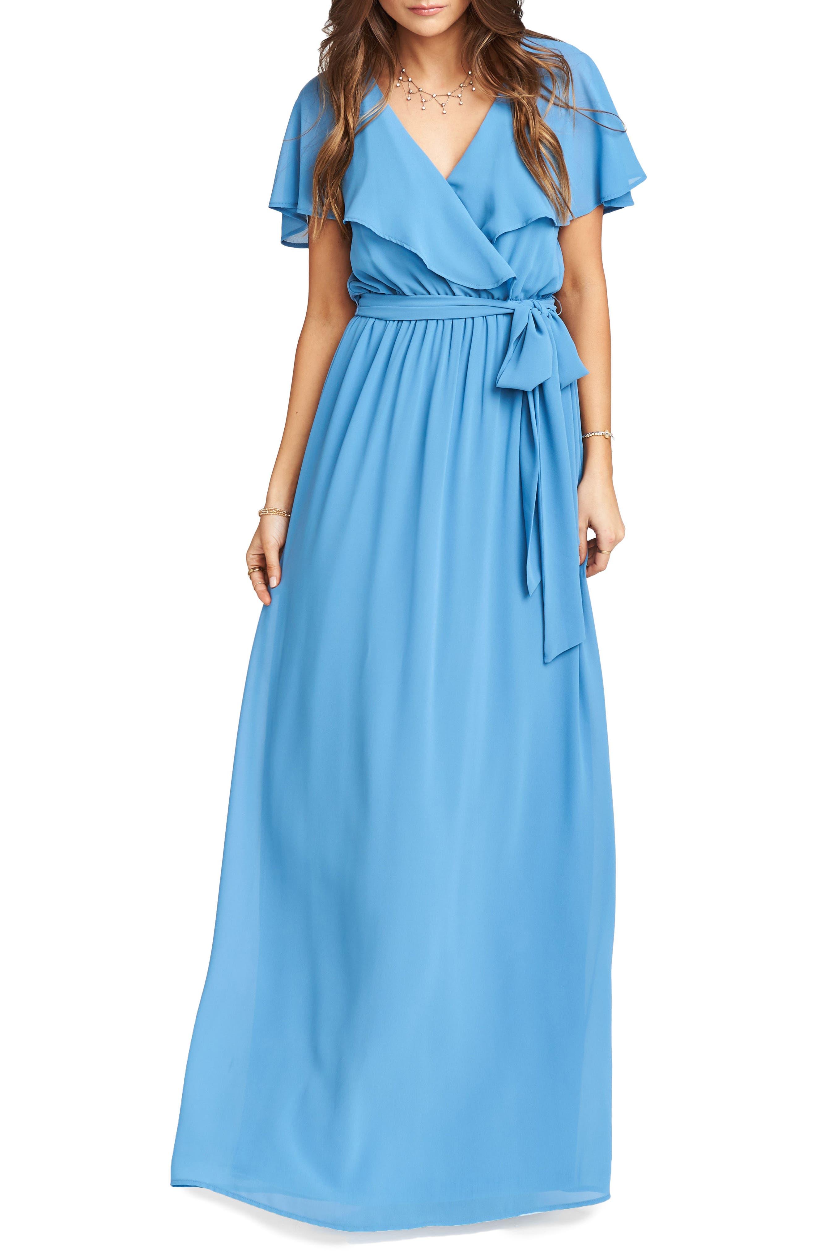 Show Me Your Mumu Audrey Ruffle Wrap Front Gown